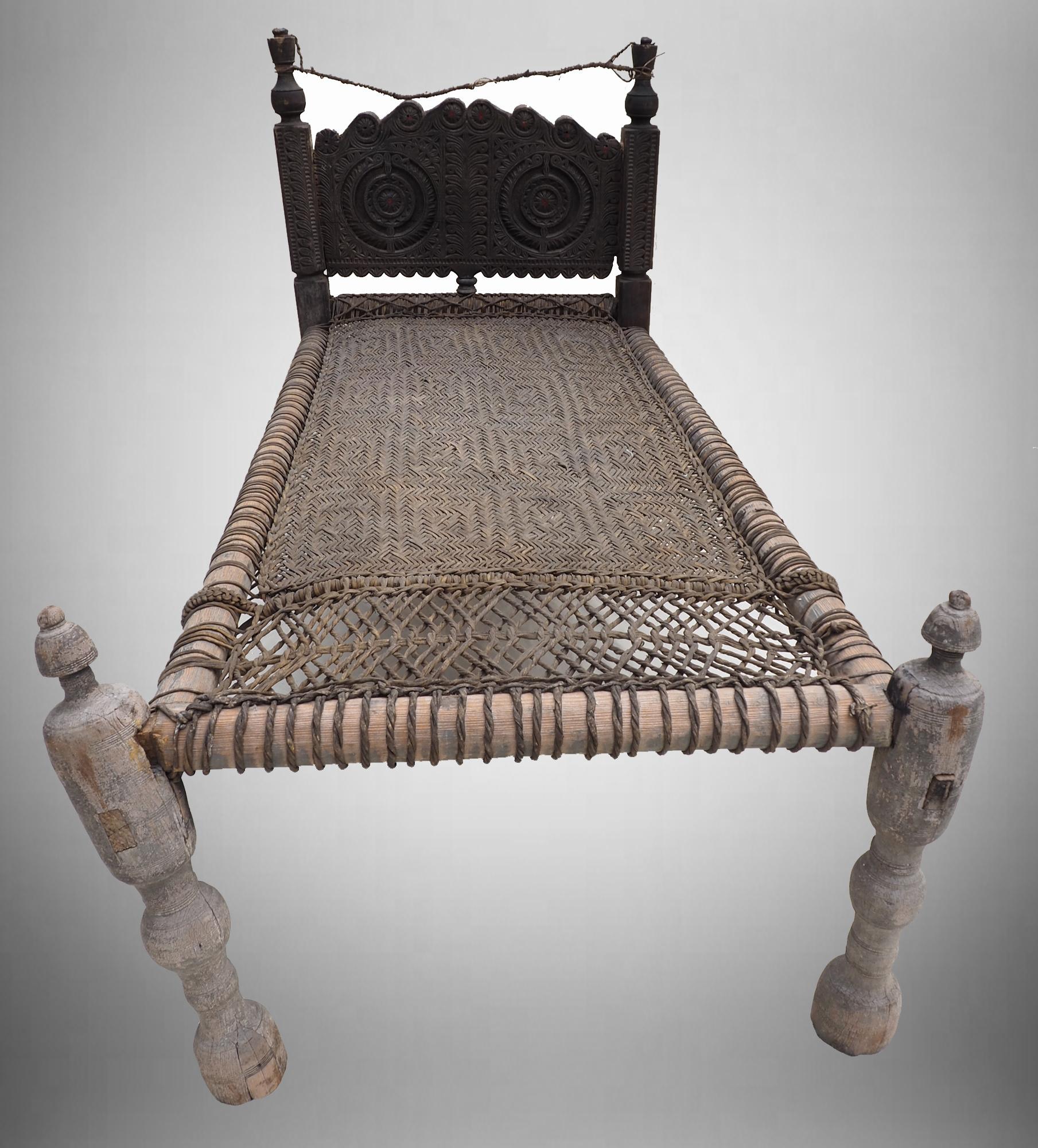 antique 19th century bed  Swat Valley-Pakistan Charpoi
