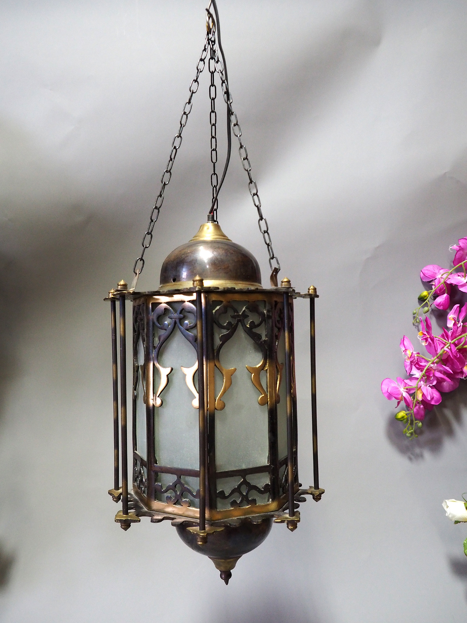 Egyptian Morocco Middle Eastern / Islamic Brass Hanging Mosque Lamp  Ceiling lamp from Afghanistan 21/B