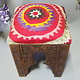 antik-look hand carved wooden vintage suzani Stoll chair from Afghanistan No:B