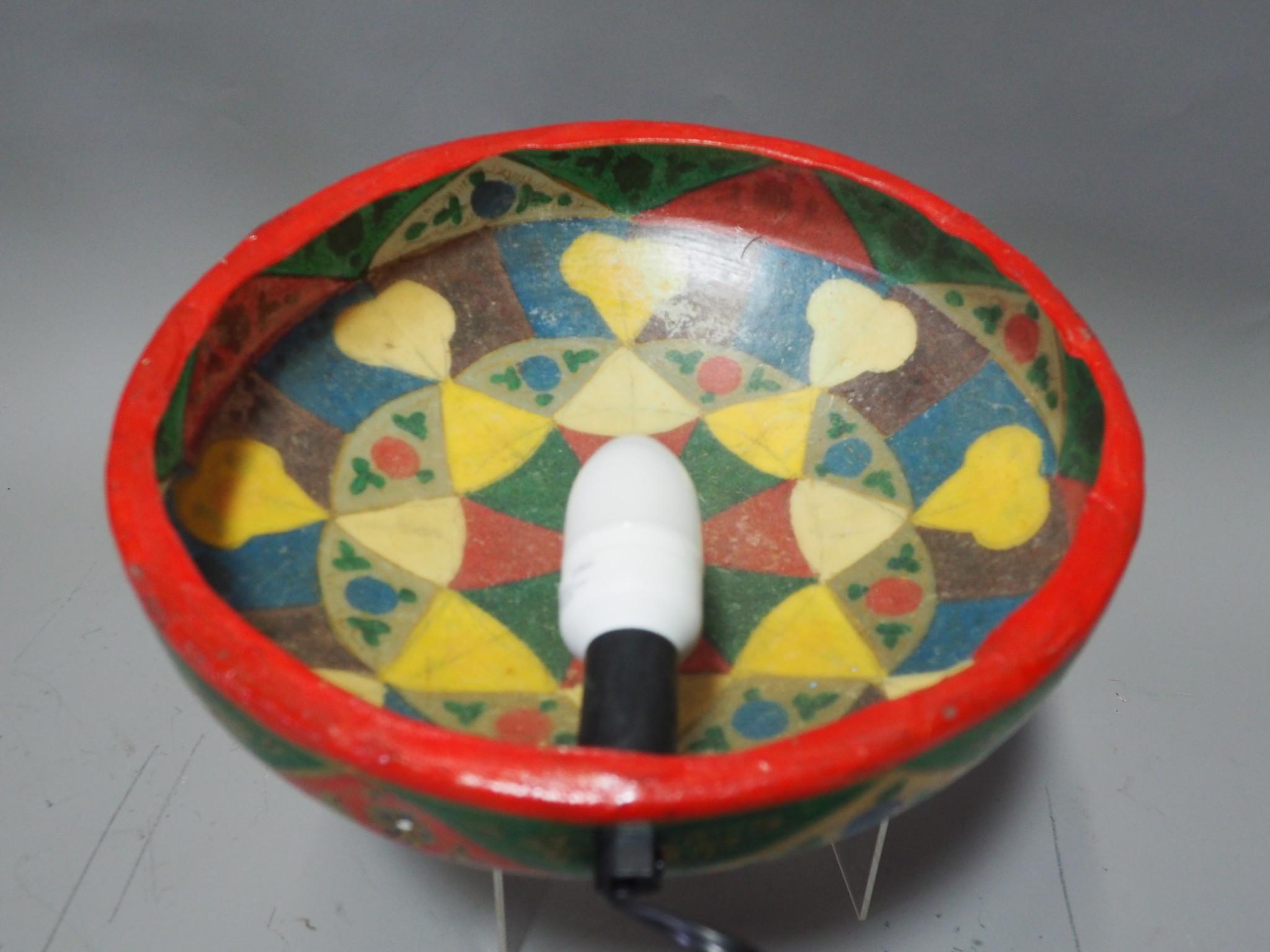 orientalische handbemalte Lampe Kamelleder  Wandlampe  aus Multan Pakistan W/3