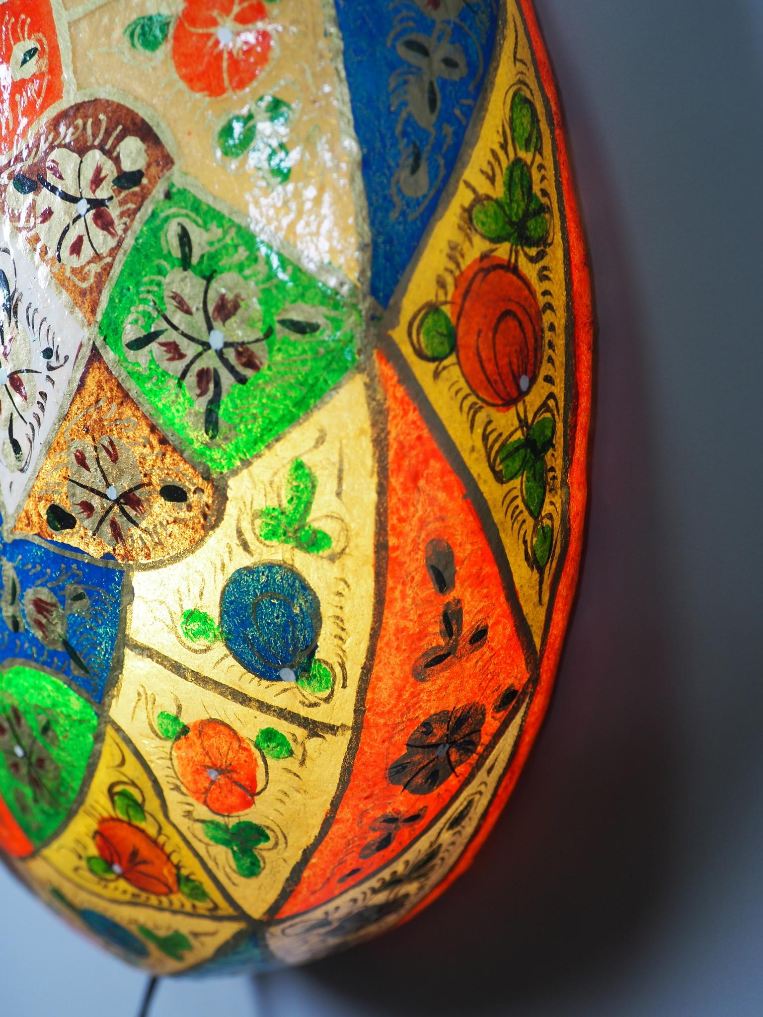 oriental hand made  Camel Skin leather  wall lamp from  Multan Pakistan W/4
