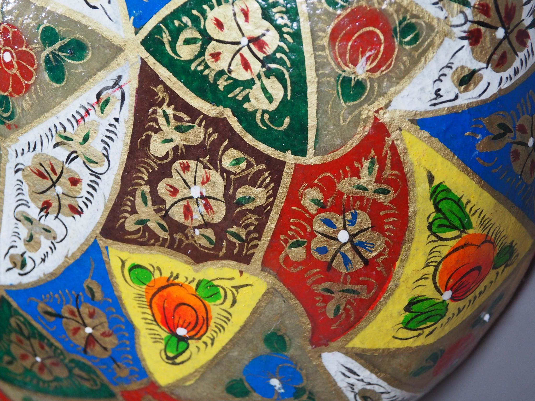 orientalische handbemalte Lampe Kamelleder  Wandlampe  aus Multan Pakistan W/1