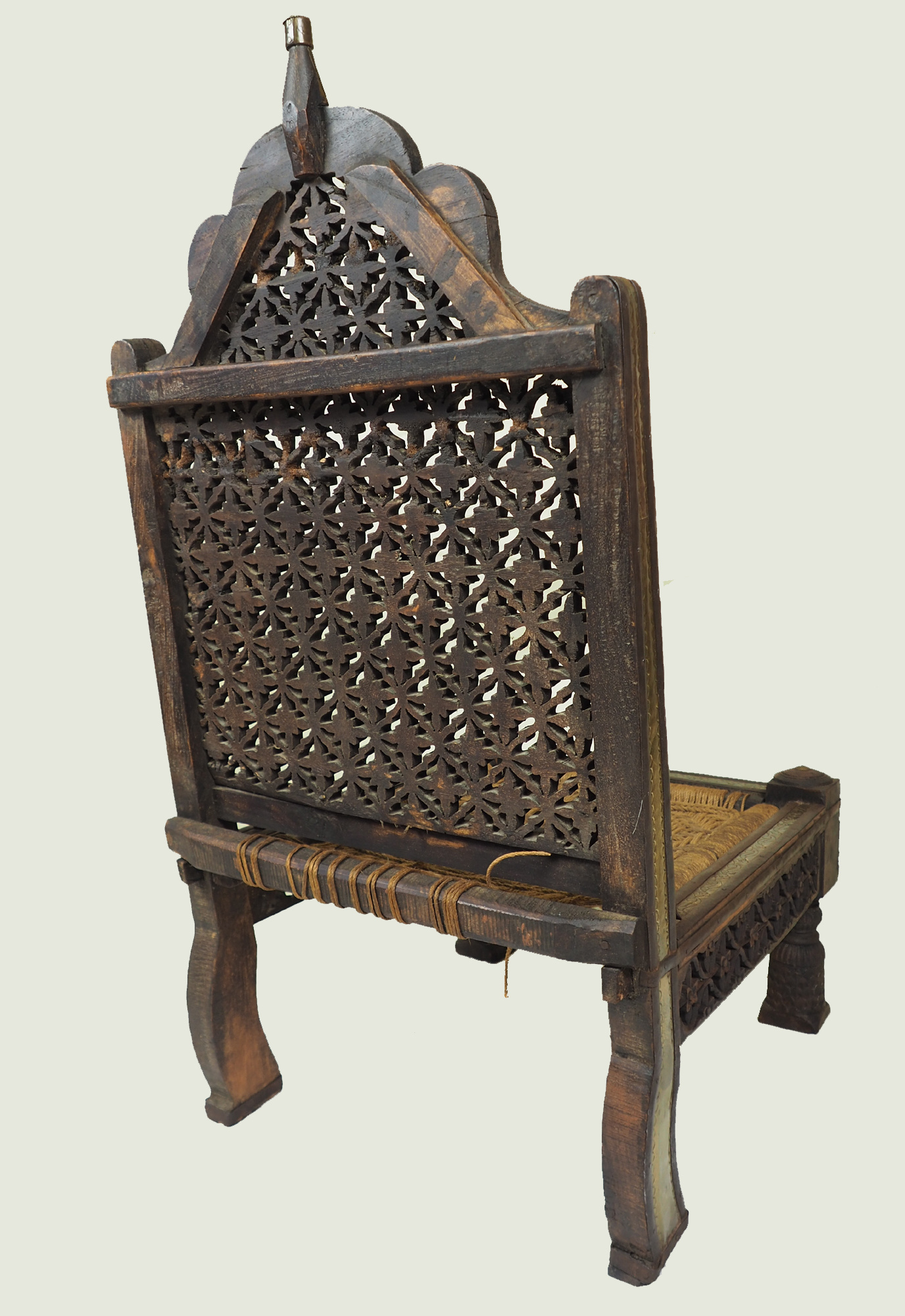 Antique Indian Tribal Hand-Carved Teak Pida Low Chair