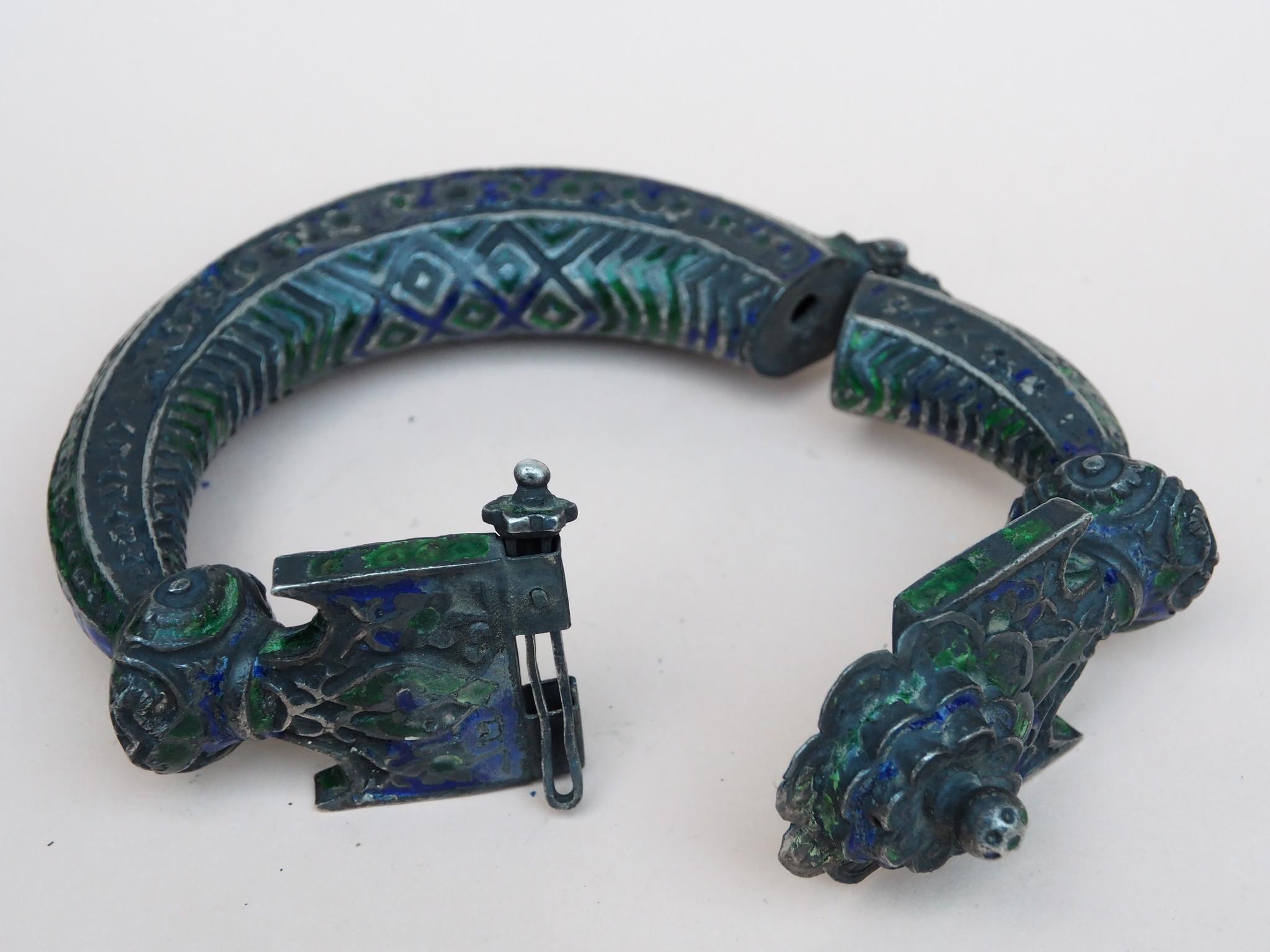 Antike handgemachte Vintage emaillierte Fußreifen Manschette Armband Multan und Sindh Pakistan Jhanjhar Armreifen  Nr-21/WL2