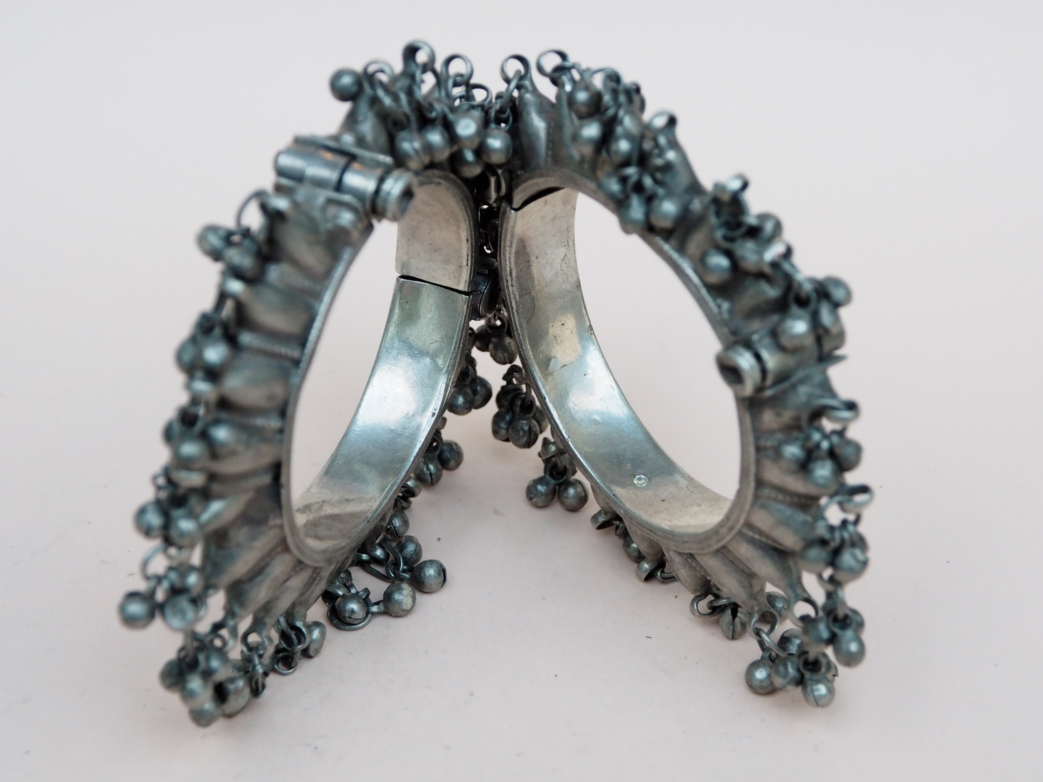 Pair antique Tribal Silver Spike Hinged Bangles Sindh Valley Silver Bracelets cuff from Pakistan