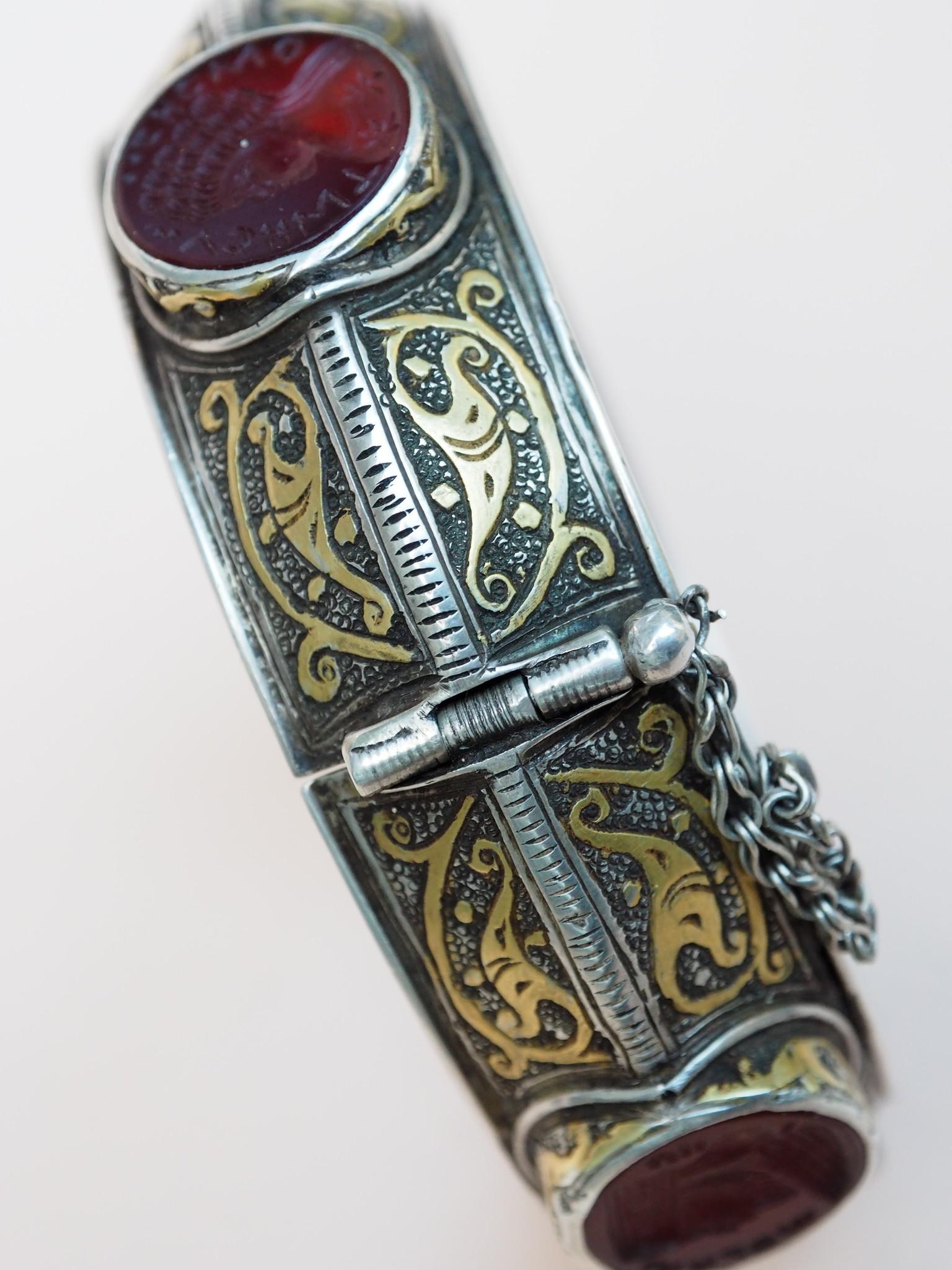 handmade vintage Afghan silver Carneliane and Lapis lazuli cuff Bracelet  Afghanistan No-21/WL