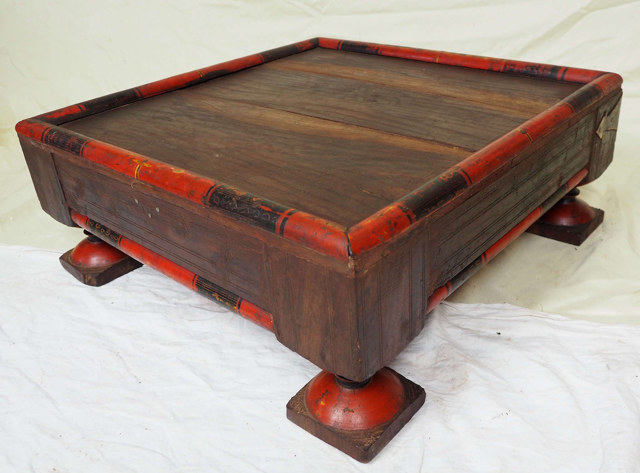 55x55 cm Very rare Antique solid wood orient tea table sidtable from Afghanistan Pakistan No:21/3