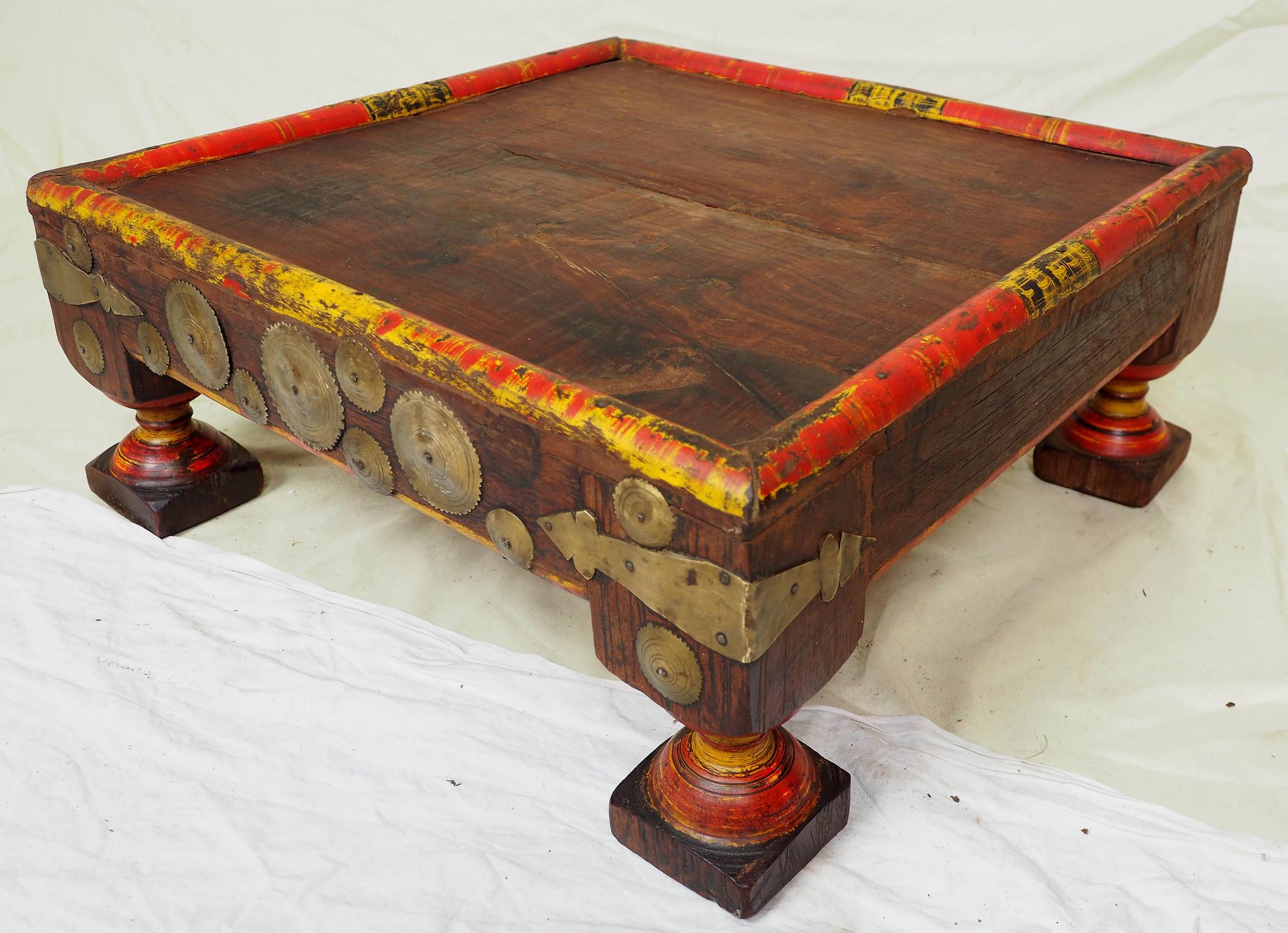 53x53 cm Antik Massivholz handgeschnitzte orient Teetisch beisteltisch Tisch Hocker Messing verziert aus Afghanistan Nr-21/4