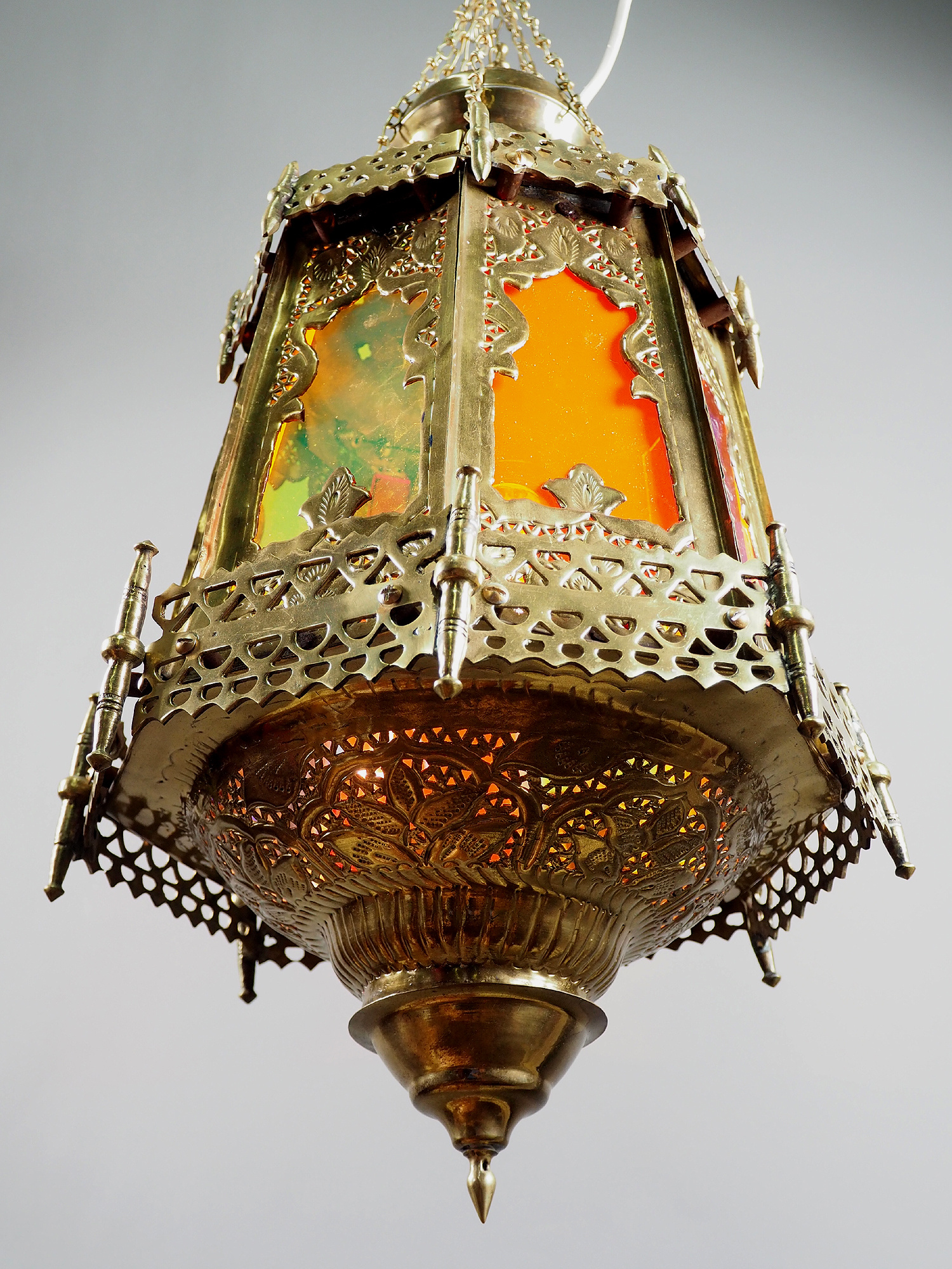 Egyptian Morocco Middle Eastern / Islamic Brass Hanging Mosque Lamp  Ceiling lamp from Afghanistan rainbow