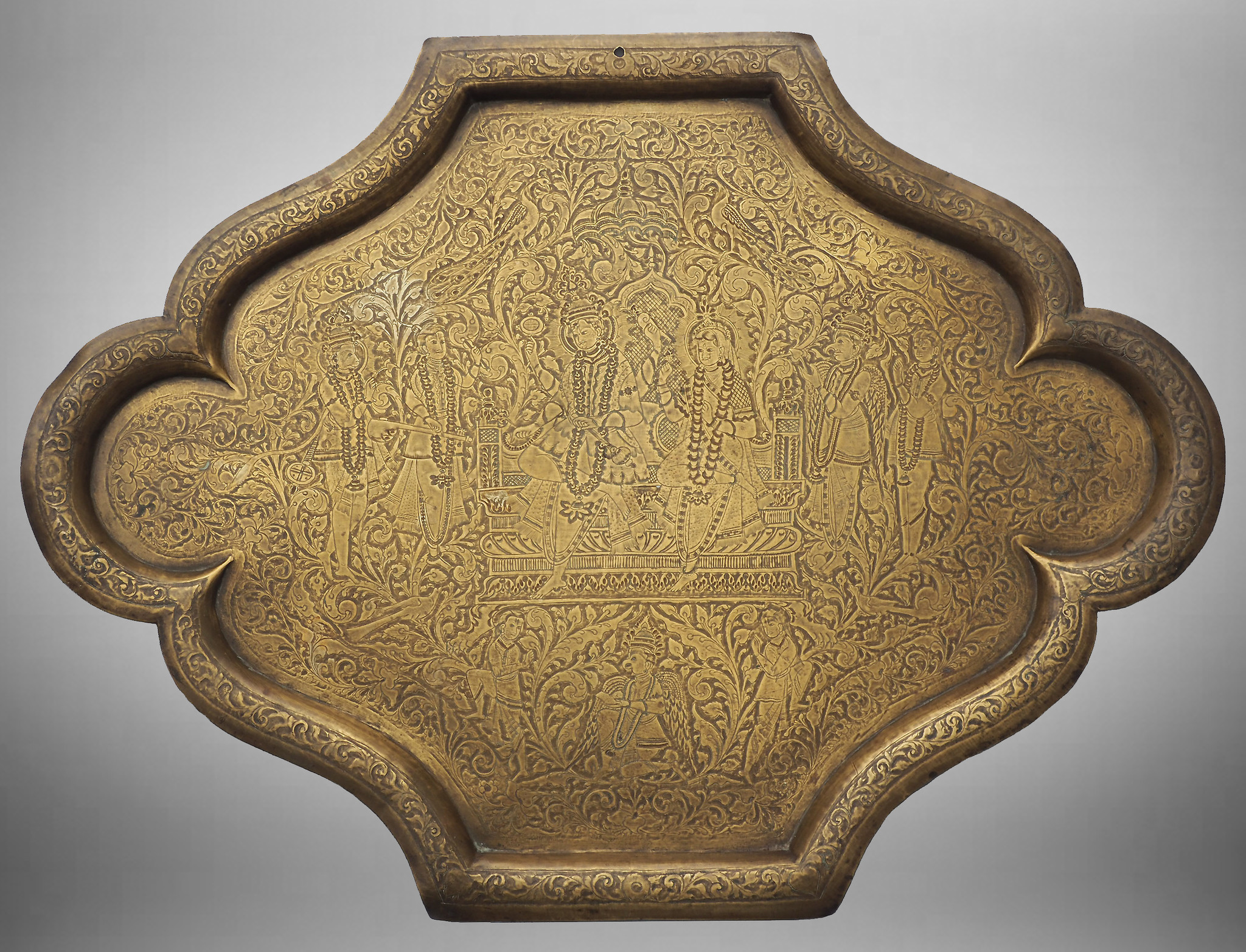 Antique orient  Hammer Engraved Brass Tray Wall plate with Indian deities