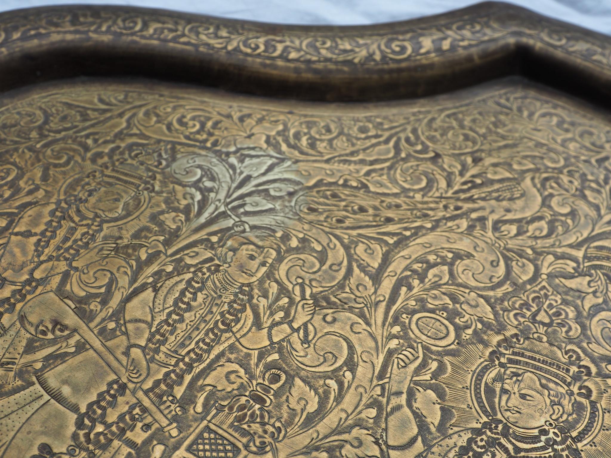 60x45 cm antik Massiv Messing orient tablett Teetisch wandteller indien gottheiten