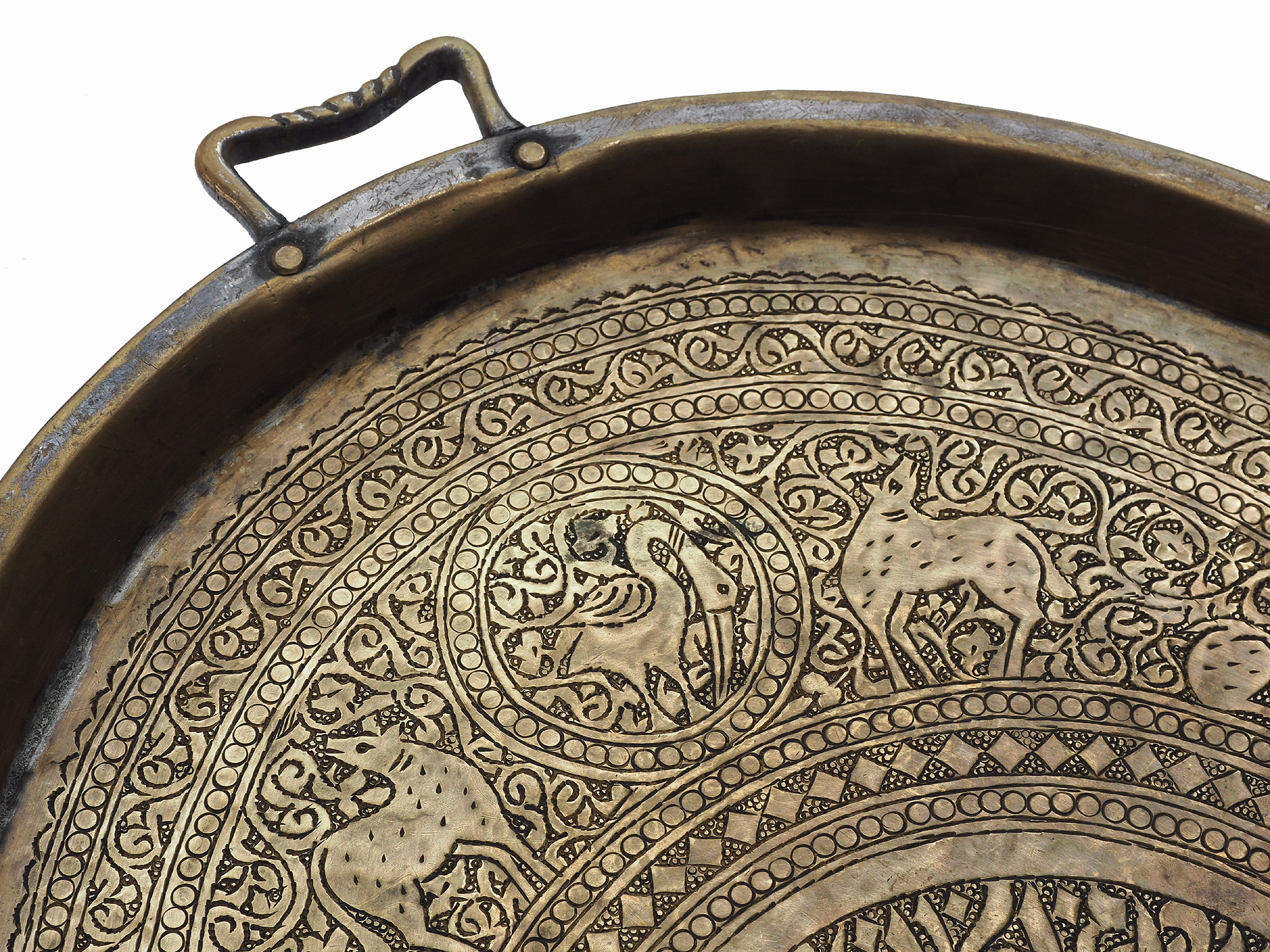 Solid antique oriental brass brass serving tray with handle from  Afghanistan