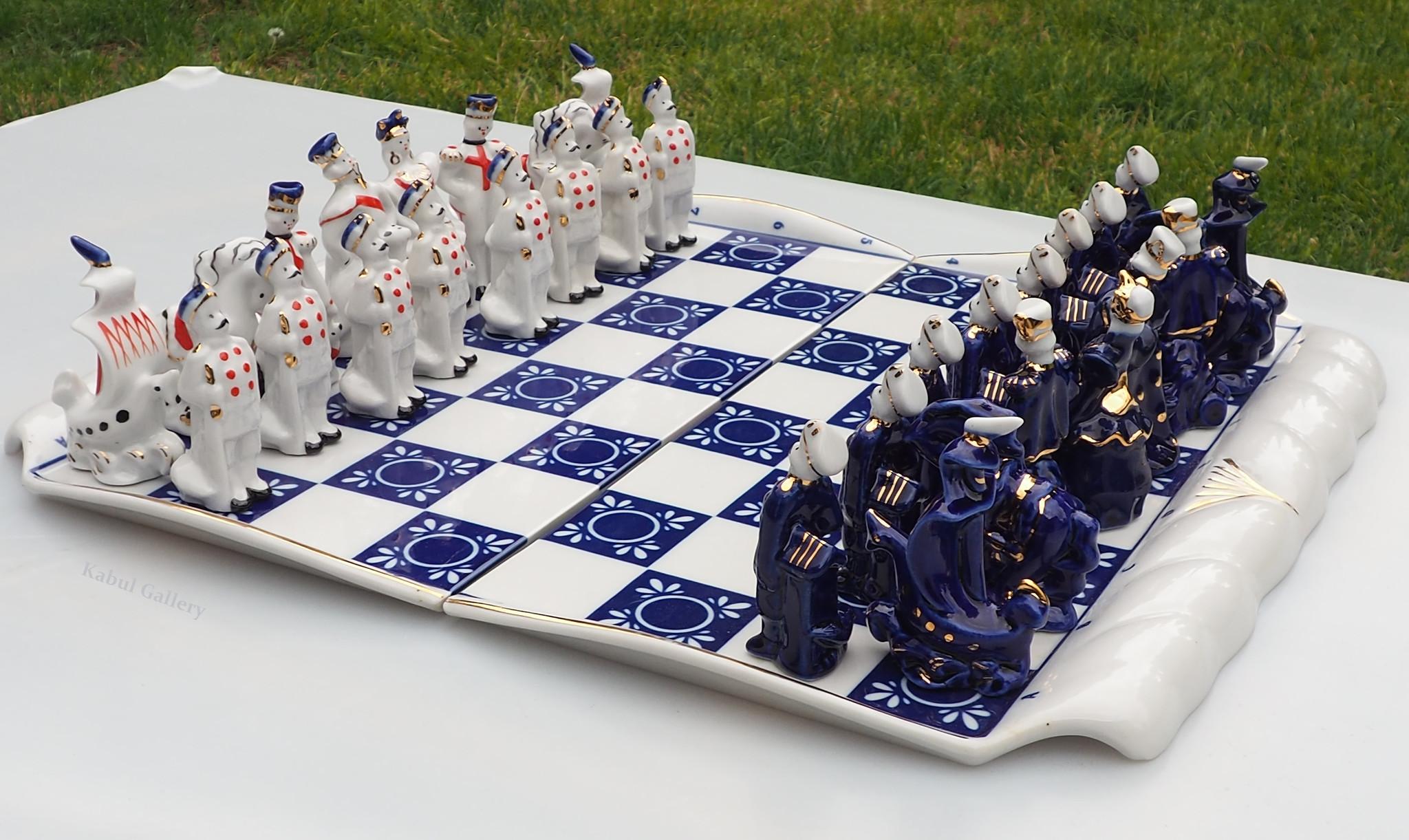 Moscow Russisches Porzellan schachspiel (Verbilki) Gardner-Fabrik (Blau)