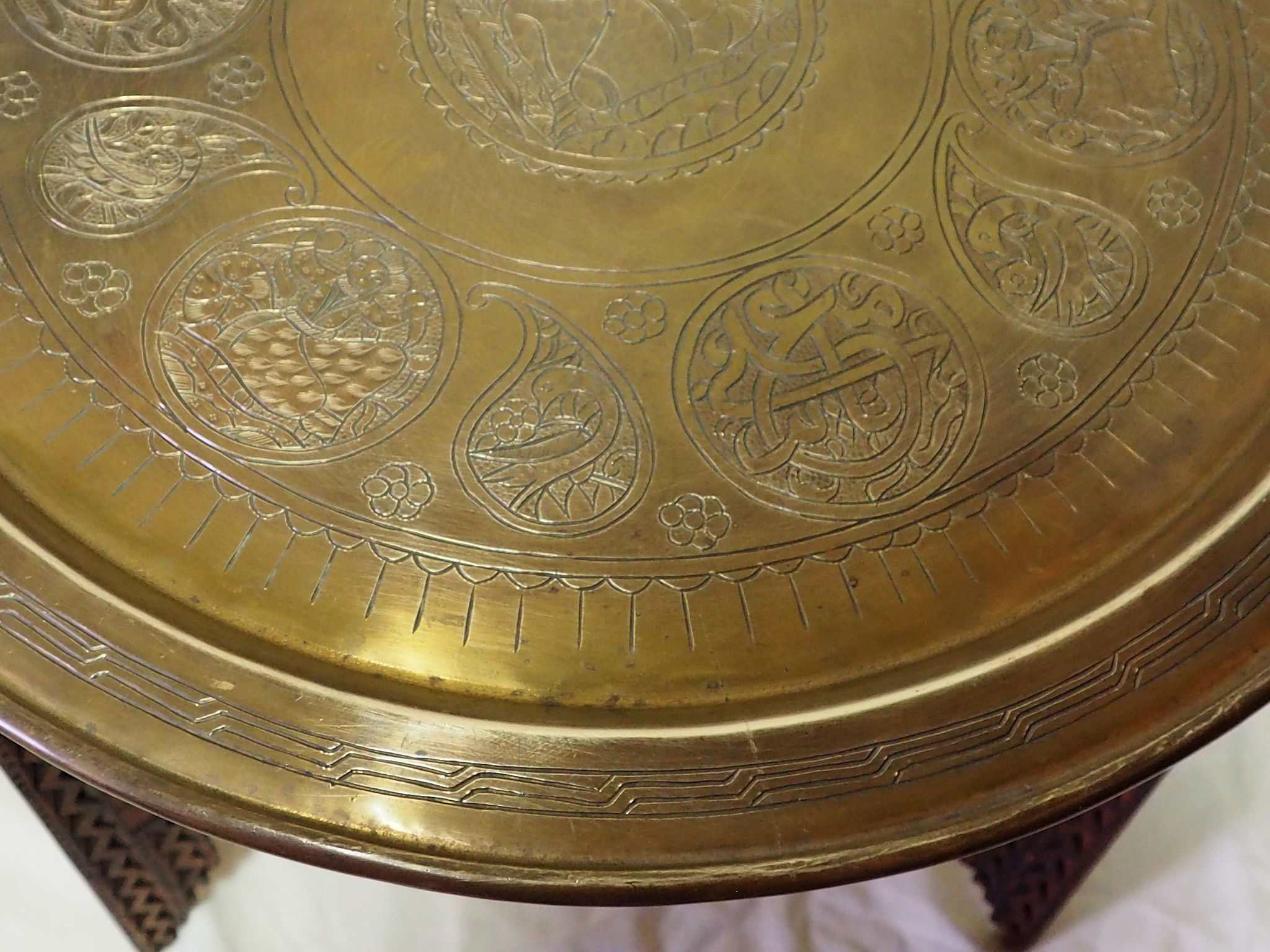 52 cm Antique ottoman orient Islamic  Hammer Engraved Brass table Tea table side table Tray from Afghanistan  No-21/H