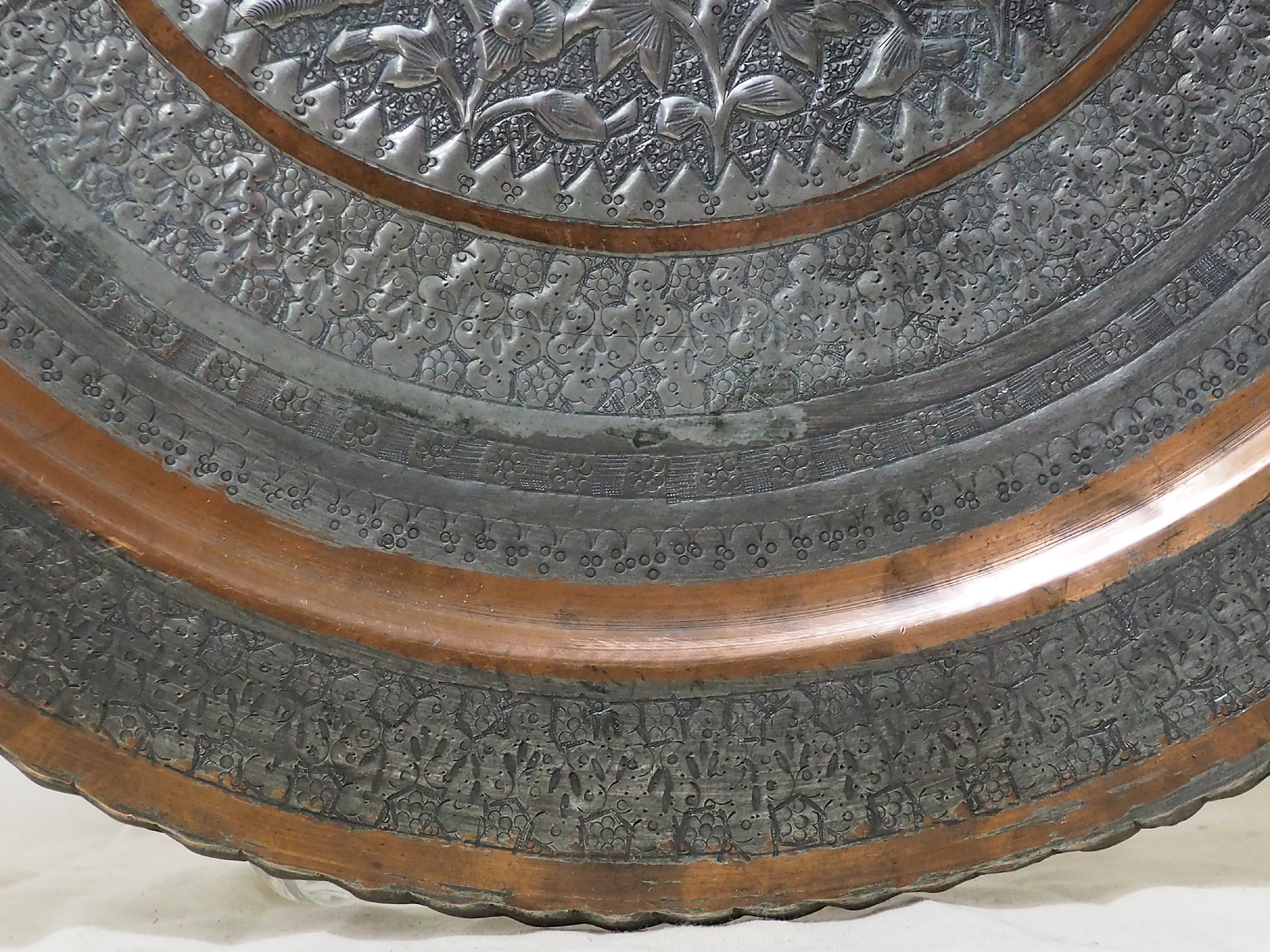 58 cm Antique ottoman orient Islamic  Hammer Engraved Brass table Tea table side table Tray from Afghanistan  No-21K