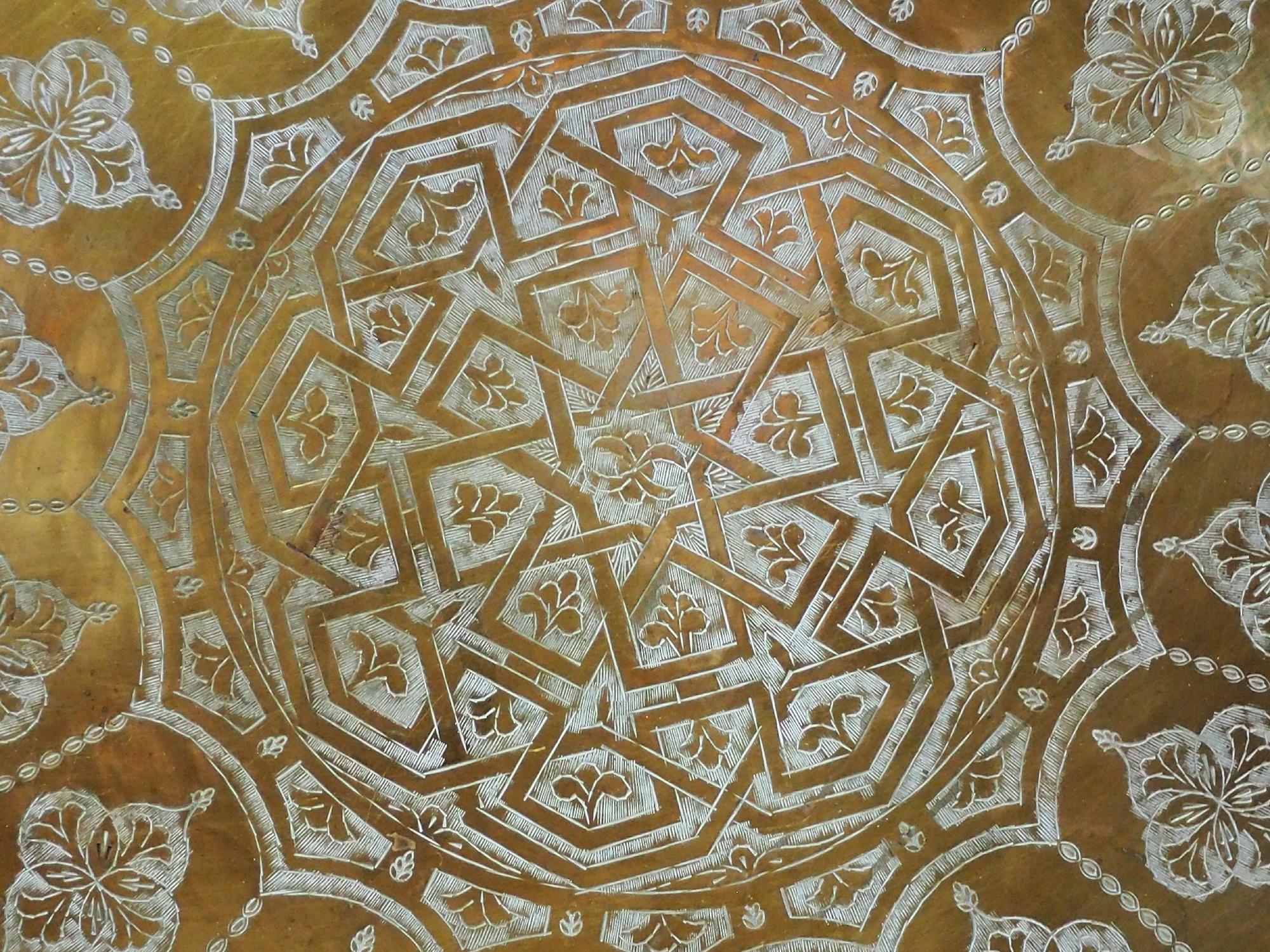 80 cm Ø  osmanisch ägyptisch marokkanisch orient Messing tablett Teetisch beisteltisch Afghanistan   21/L