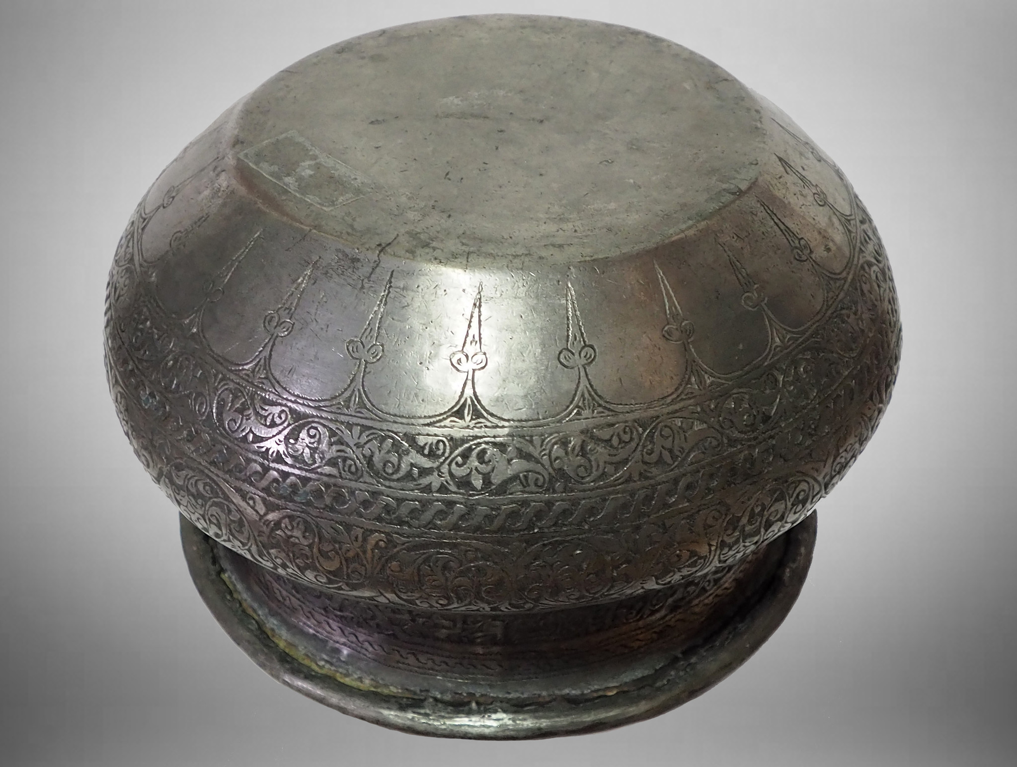 Antique Engraved Large islamic Tinned Copper  Bowl, 18/19th C. from Afghanistan tas No:21A