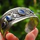 Lapis Bracelet, Afghan, Kuchi Jewelry, Silver Cuff, Brass, Mixed Metal, Vintage No:ALP-1