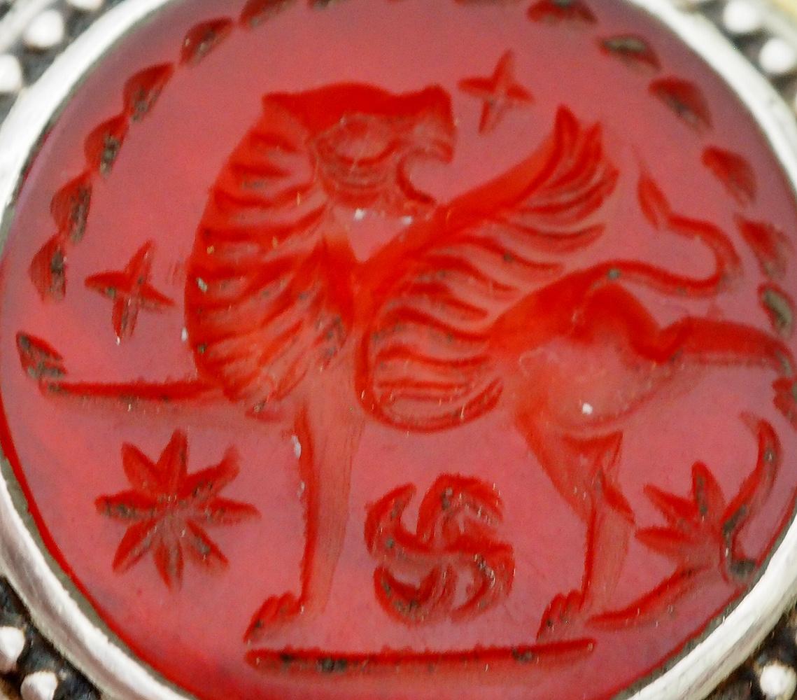 Turkmen Ring  carnelian seal stone No: 465