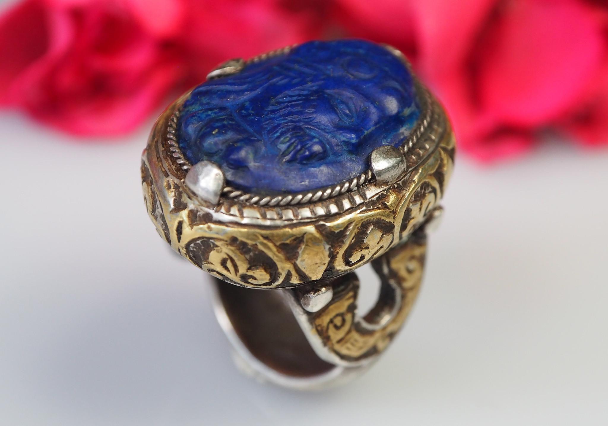 Turkmen Ring  Lapis Lazuli  seal stone No: 467