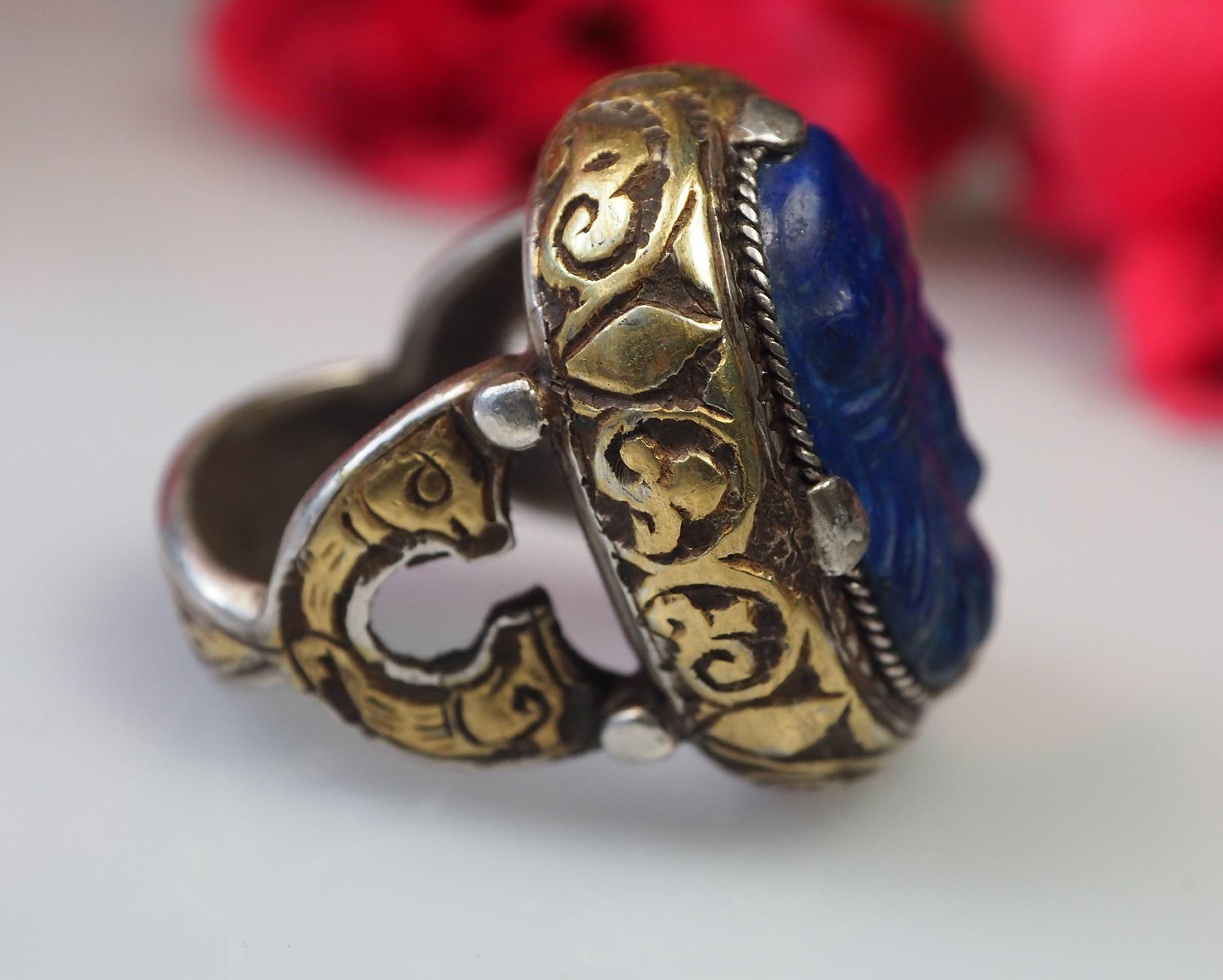 Turkmenische Lapis Lazuli Siegel Ring  Nr: 467