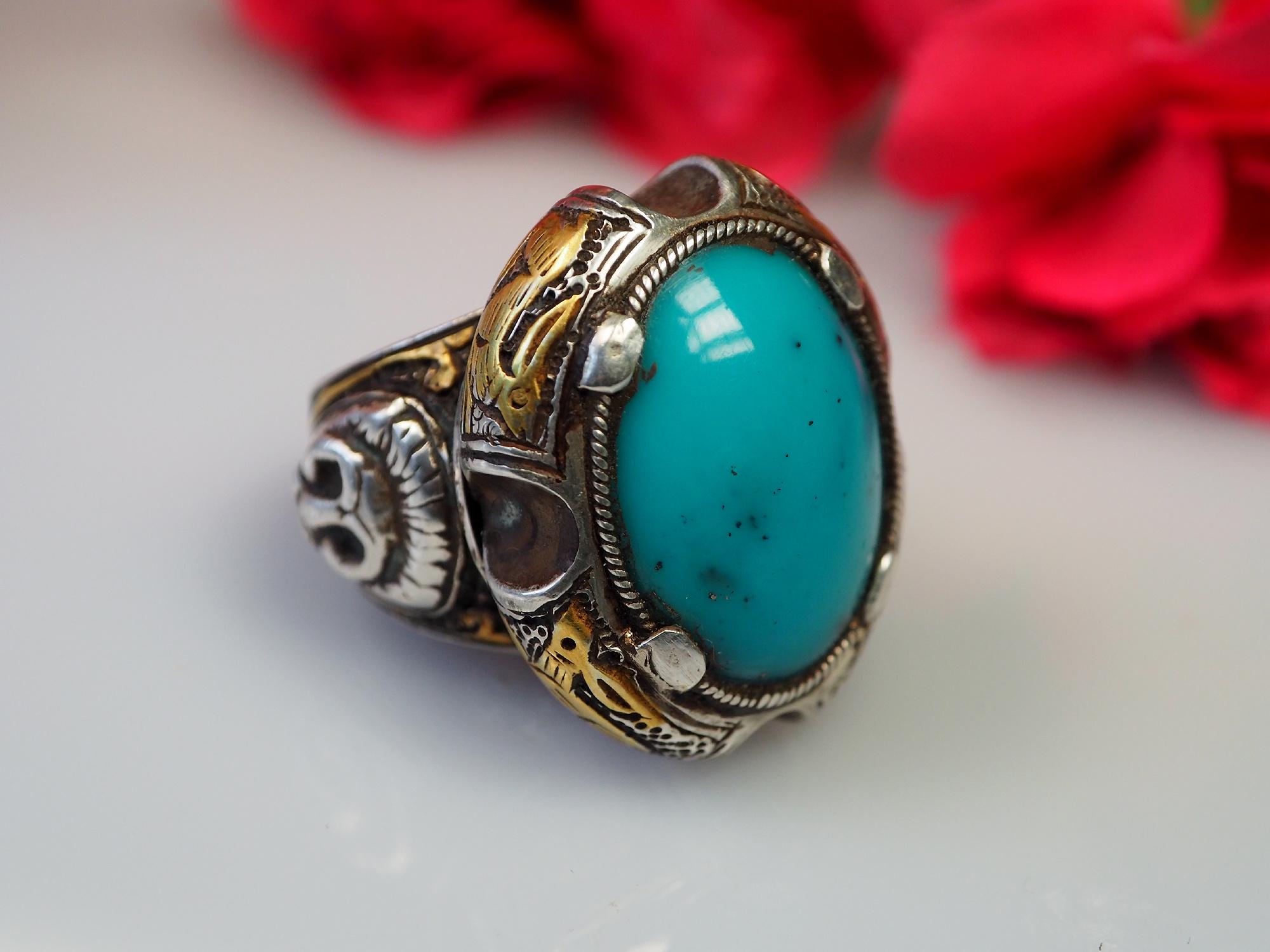 Massiv Silber  Türkis  Ring aus  Afghanistan Nr-468