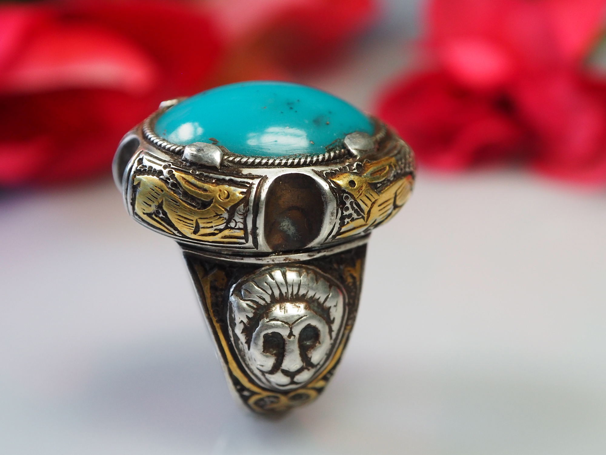 handmade Silver turquoise stone turkmen statement ring from Afghanistan No:468