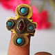 Turkmen Women's turquoise ring with gold plating  No: 472
