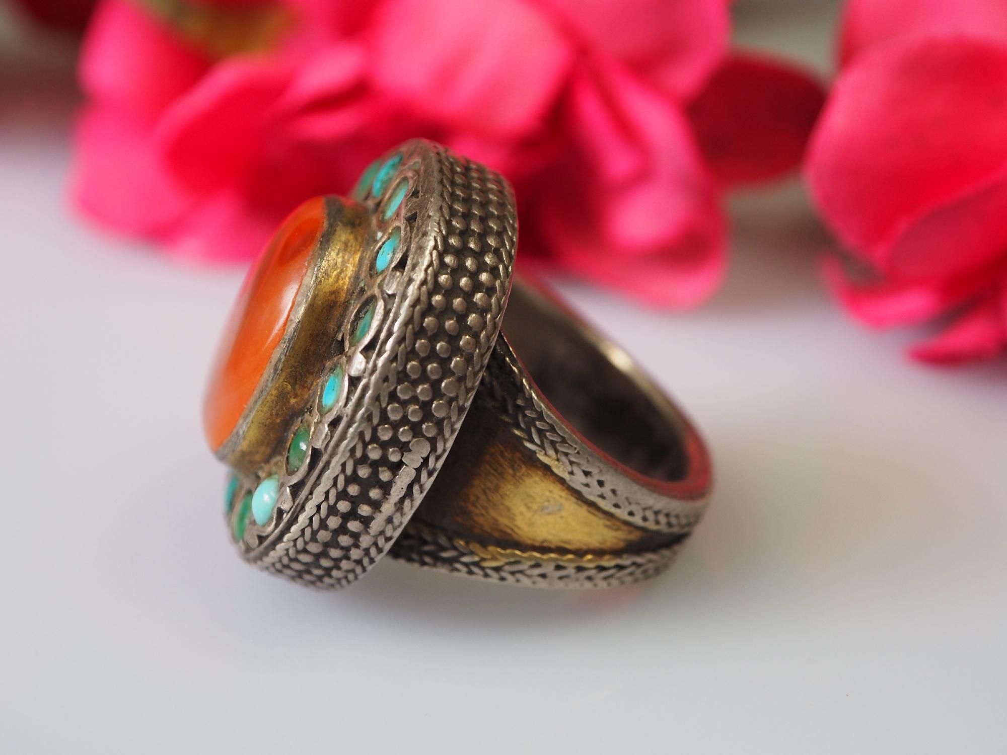 Turkmen cabochon Carnelian Ring  No:473