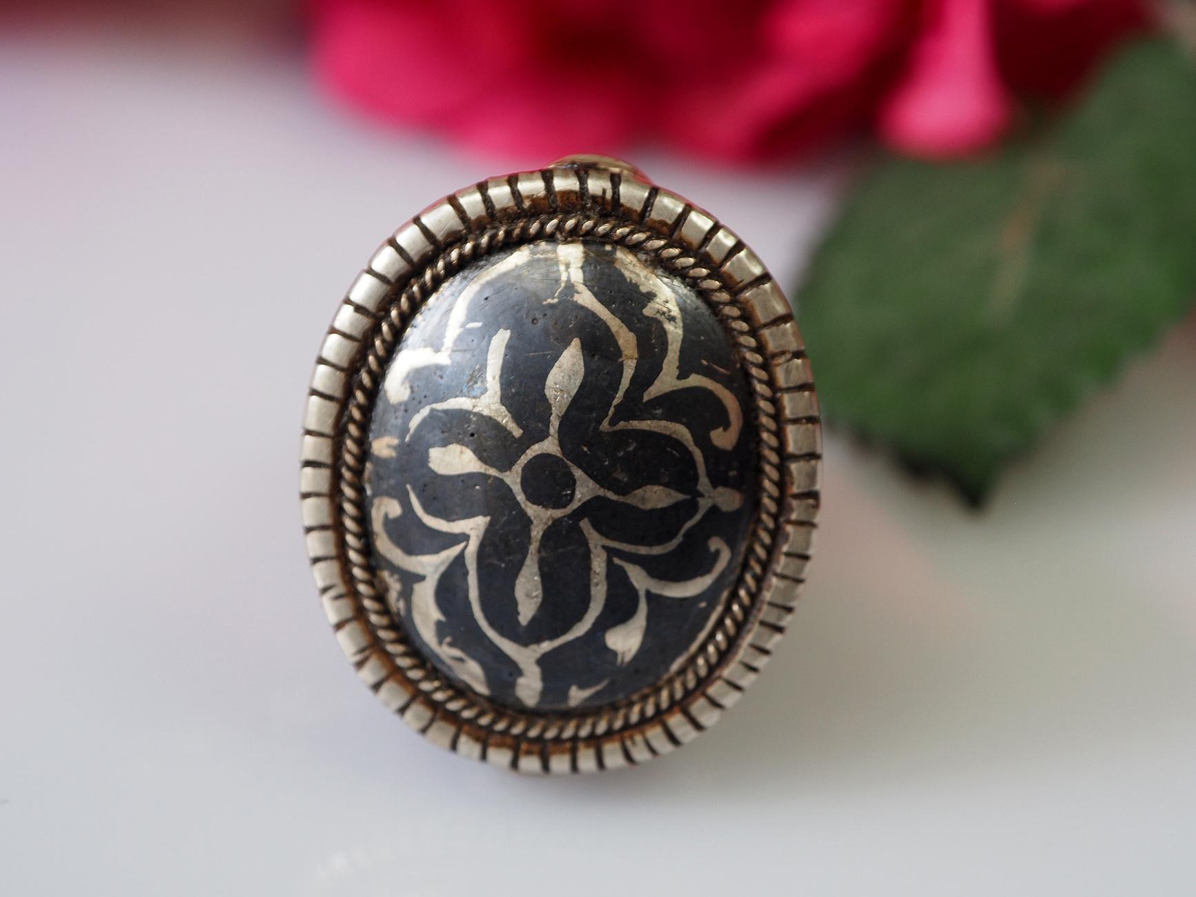 Turkmenische   Niello Tula Silber Ring  Nr: 478