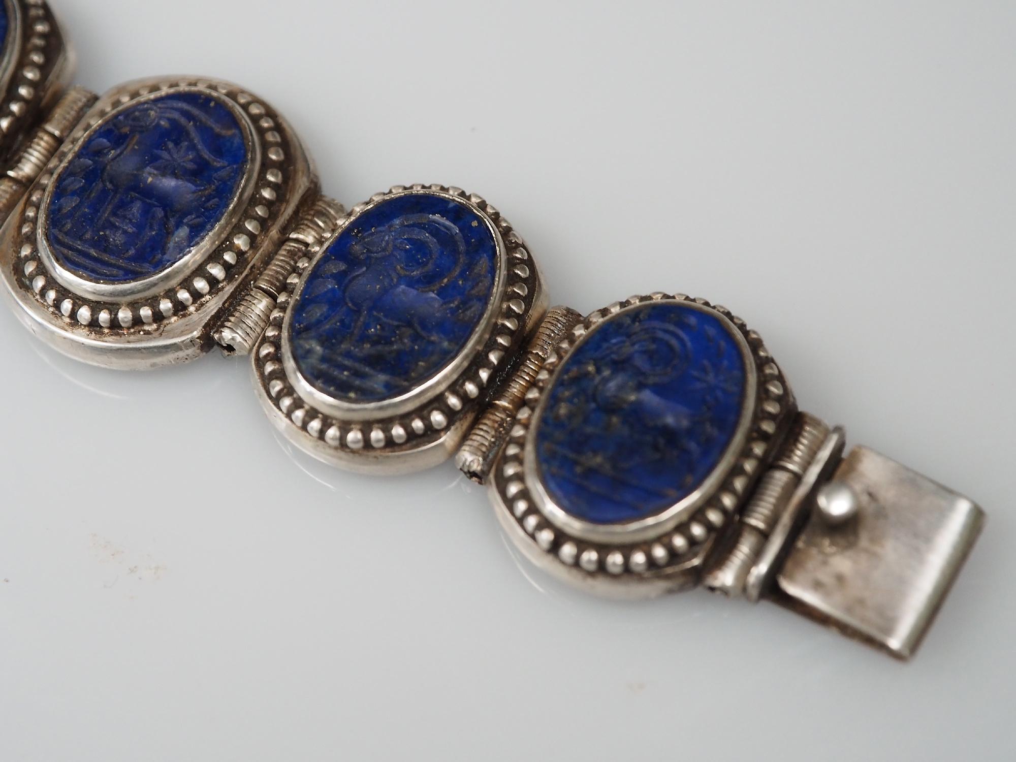 Afghan silver Lapis Lazuli  Bracelet  Link Bracelet Afghanistan No-WL/B