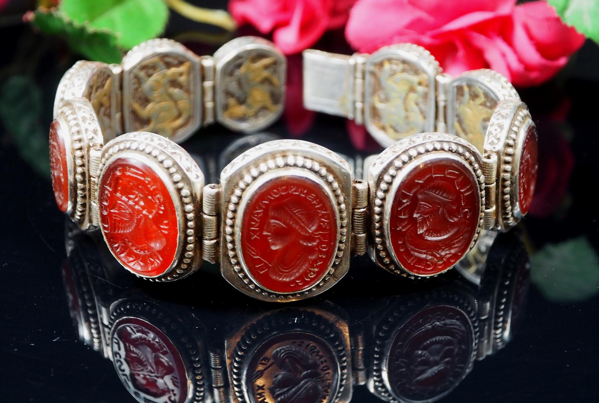 Afghan silver Carneliane Bracelet Link Bracelet Afghanistan No-WL/C
