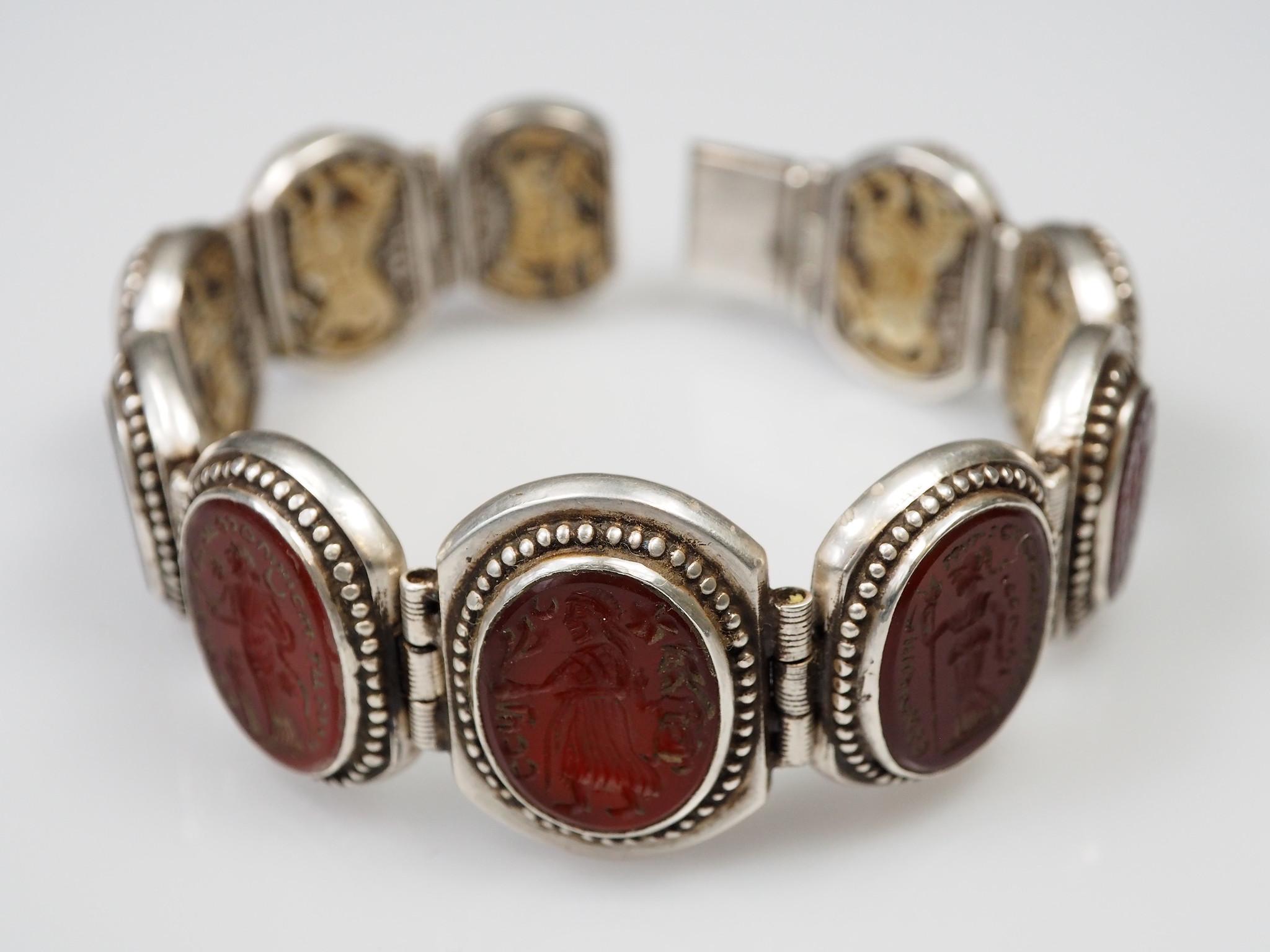 Afghan silver Carneliane Bracelet Link Bracelet Afghanistan No-WL/E