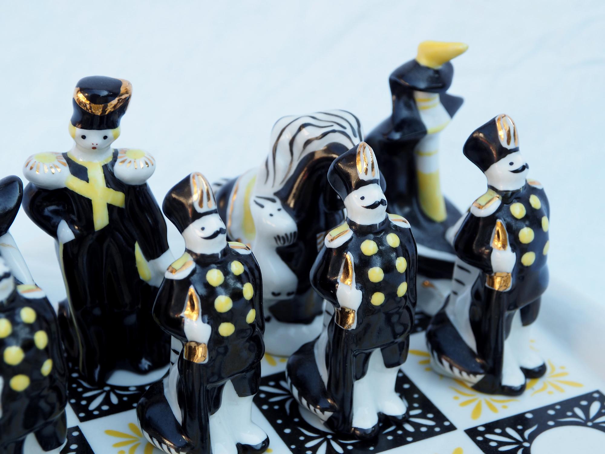 Rare Vintage Gardner Verbilki Russian Porcelain Chess Set  ( Gold)