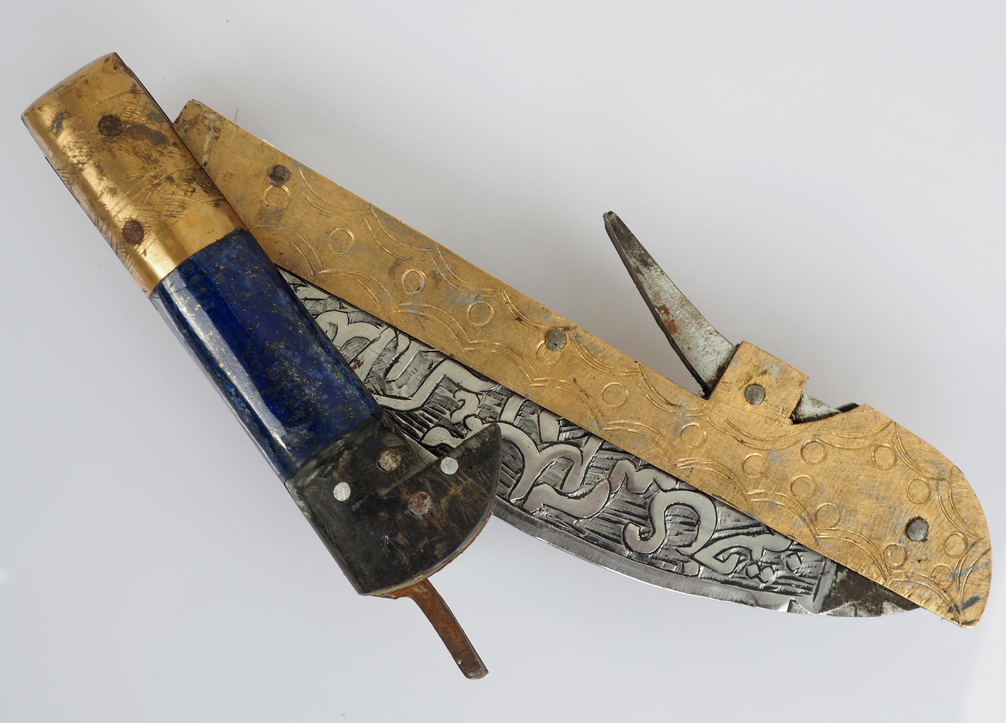 32 cm Knife Islamic scythe Short sword Dagger choora Pesh kabze  lohar Knife Khyber sickle Pick lapis  handle afghanistan pakistan :21E