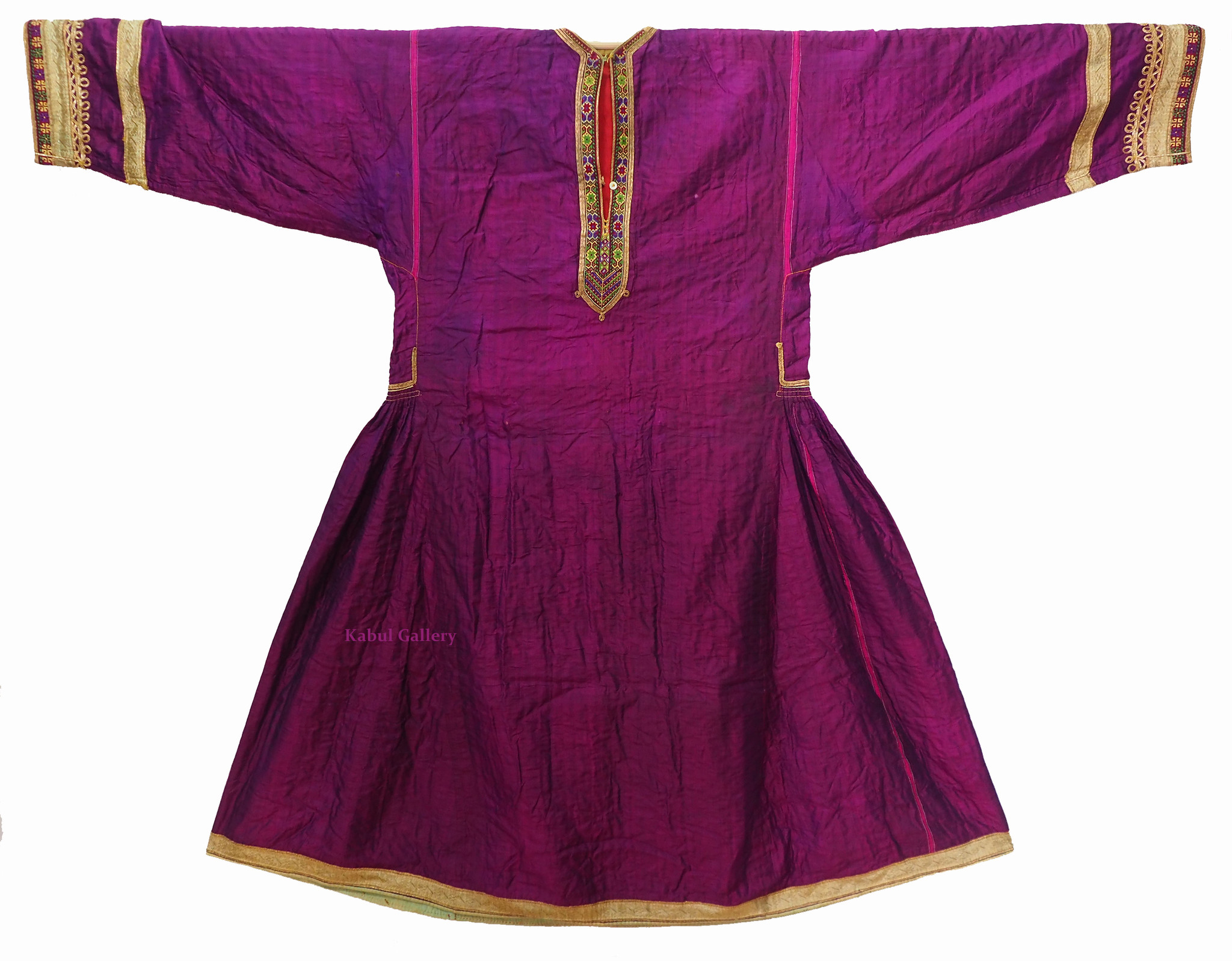 antique hand embroidered nomadic Kuchi Ethnic silk wedding dress from Afghanistan No-21/7