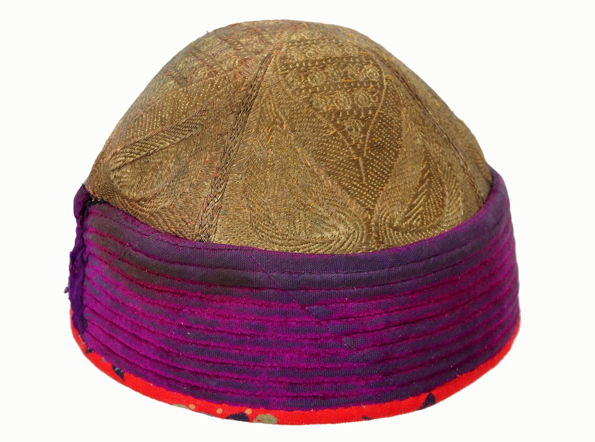 antik und sehr seltener Afghan nomaden Khyber Pass Stammes- Samthut mit Metallic-Stickerei Hochzeit Samt Hut Mütze  aus Afghanistan  Zari