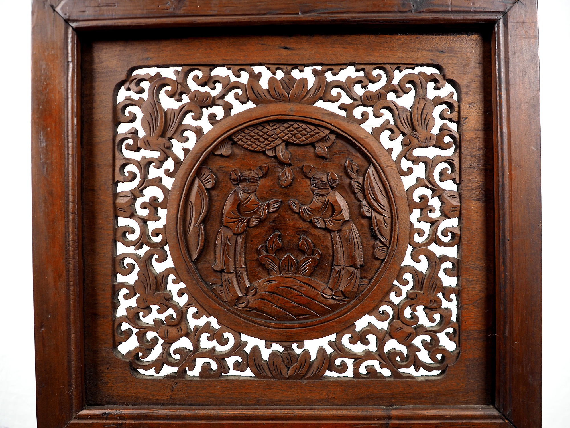 Antique Chinese  Wood Carving Screen Wall Hanging 21