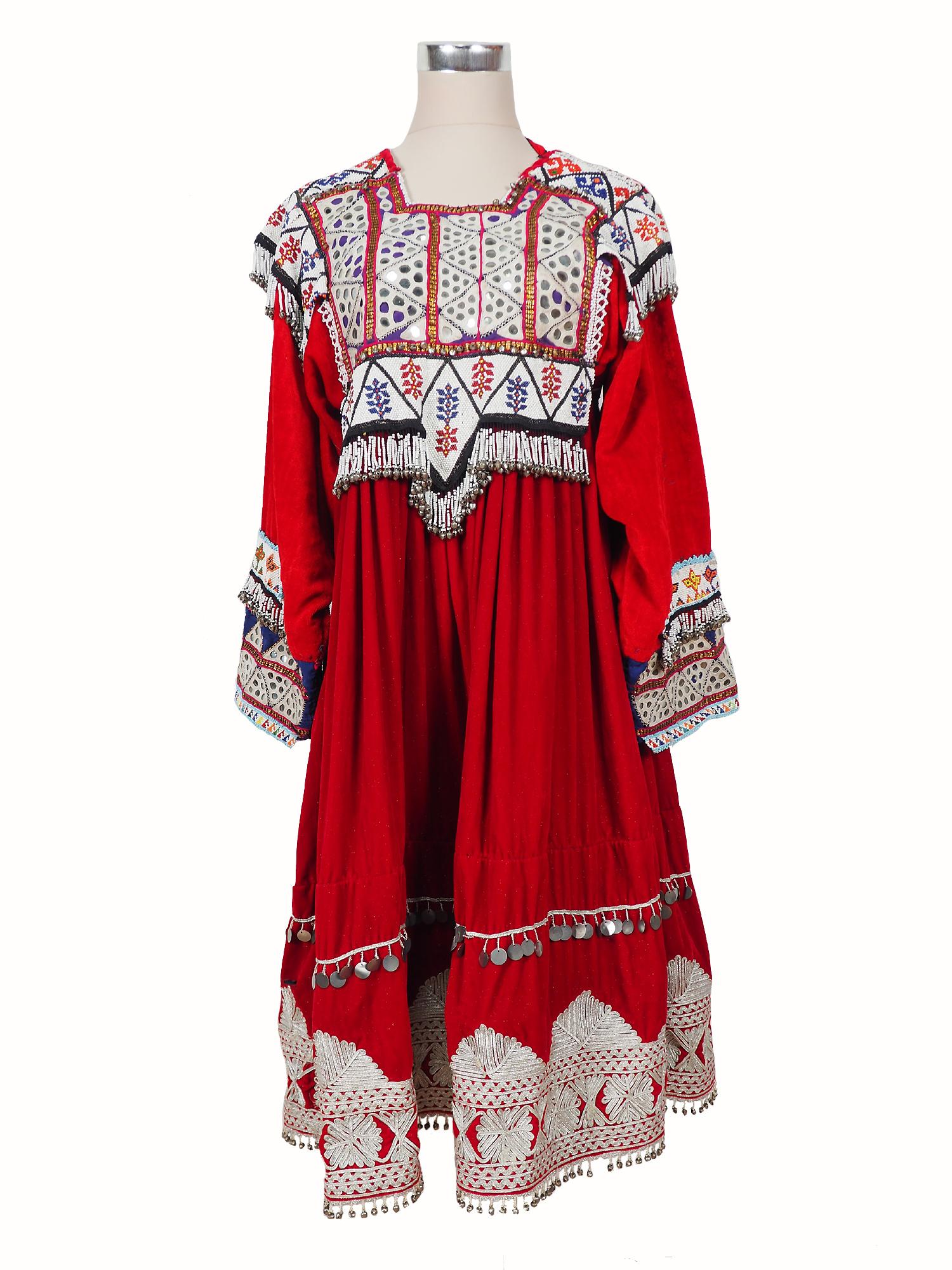 vintage hand embroidered nomadic Kuchi Ethnic velvet dress from Afghanistan No-WL21-6
