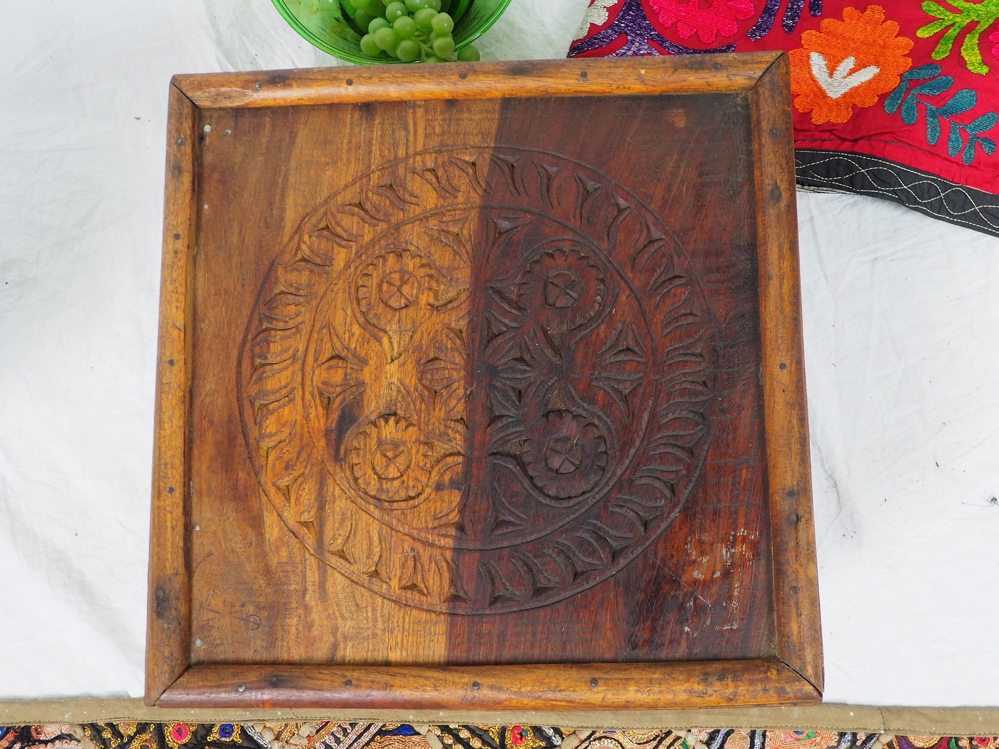 38x38 cm  Antique solid wood orient tea table sidtable from Afghanistan Pakistan No:PJ-D