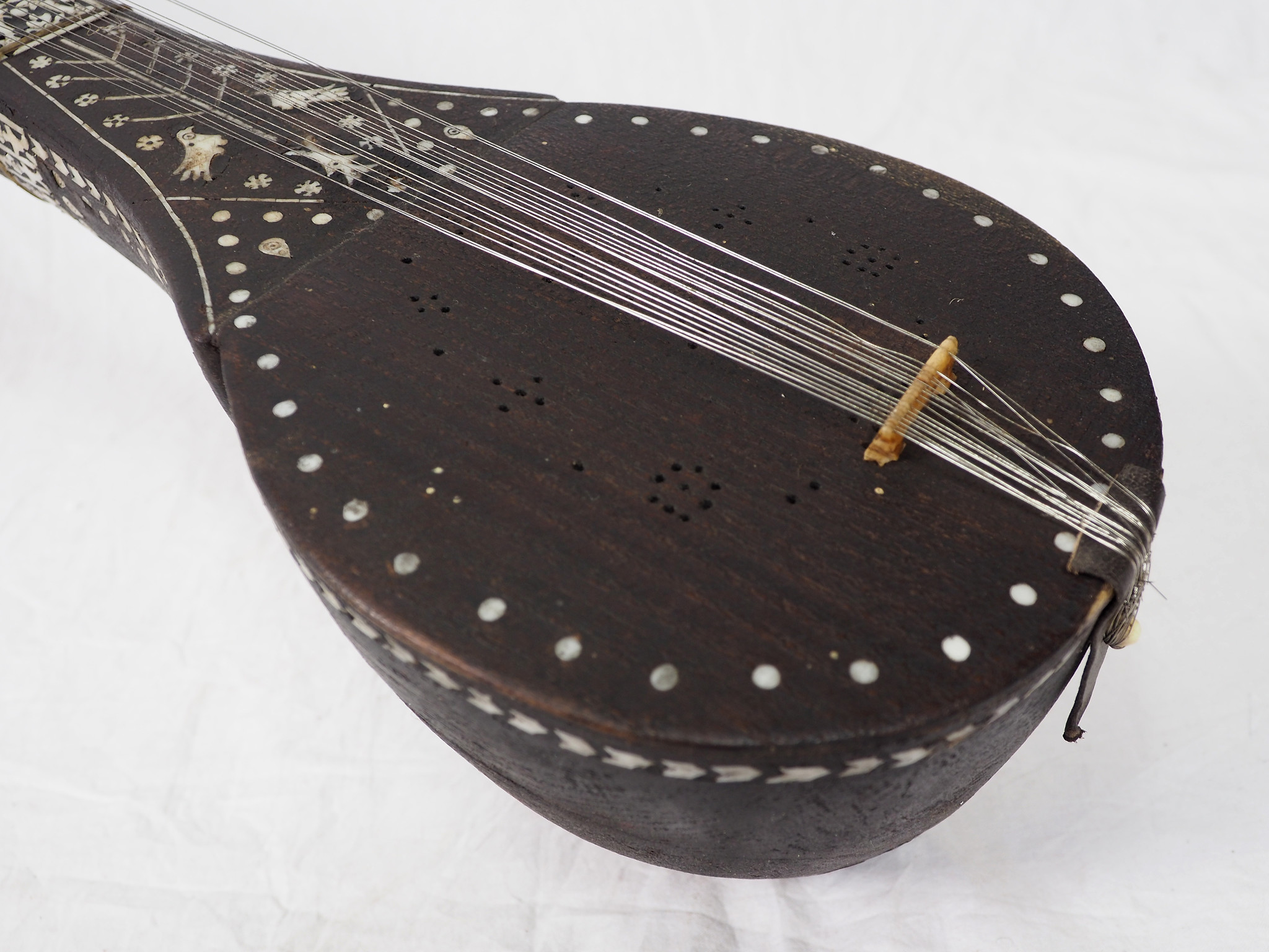 antique afghan folk music instrument Tambur Tanbur tanboor from Afghanaistan  with mother-of-pearl and bone inlaid  تنبور No:21