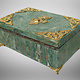 Hand Crafted  olive green serpentine Gemstone shahmaqsud box Candy Dish With Lid and Brass decoration from Afghanistan. 21/A