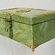 Hand Crafted  olive green serpentine Gemstone shahmaqsud box Candy Dish With Lid and Brass decoration from Afghanistan. 21/C