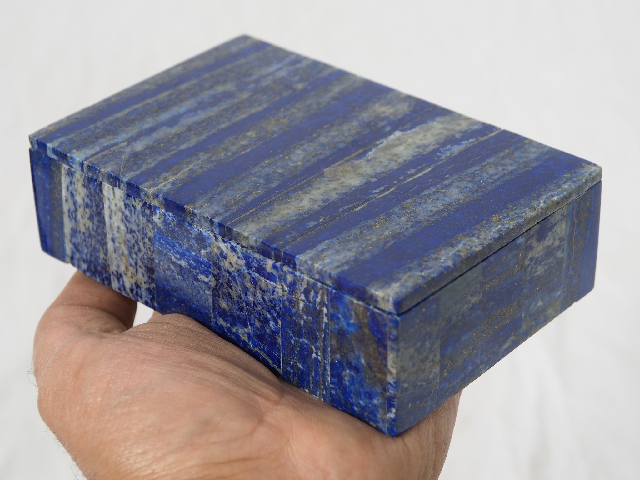 Hand Crafted stunning genuine Afghan Lapis Lazuli Gemstone  Box   from Afghanistan No: 21/F