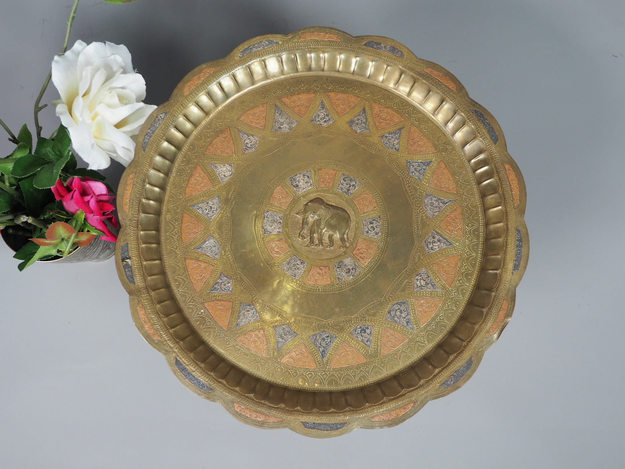 36 cm Antique orient  Engraved Brass Tray Wall plate  No:K12