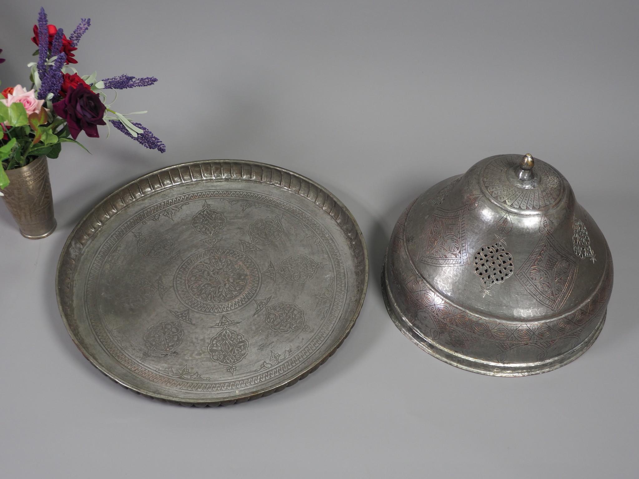 Antiker persischer Kupfer schalendeckel Sarpush Essen / Schüsseldeckel