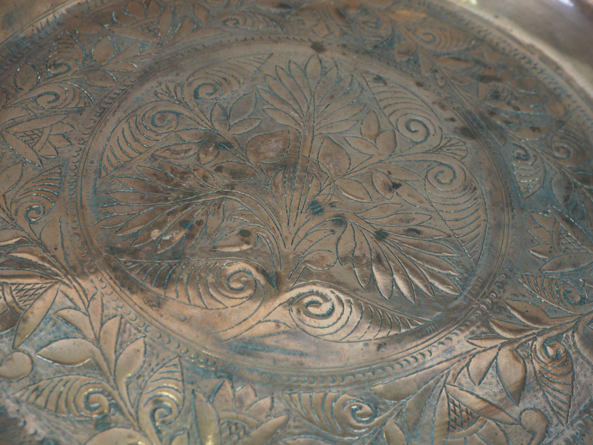 38 cm antik Kupfer Teller No:K18
