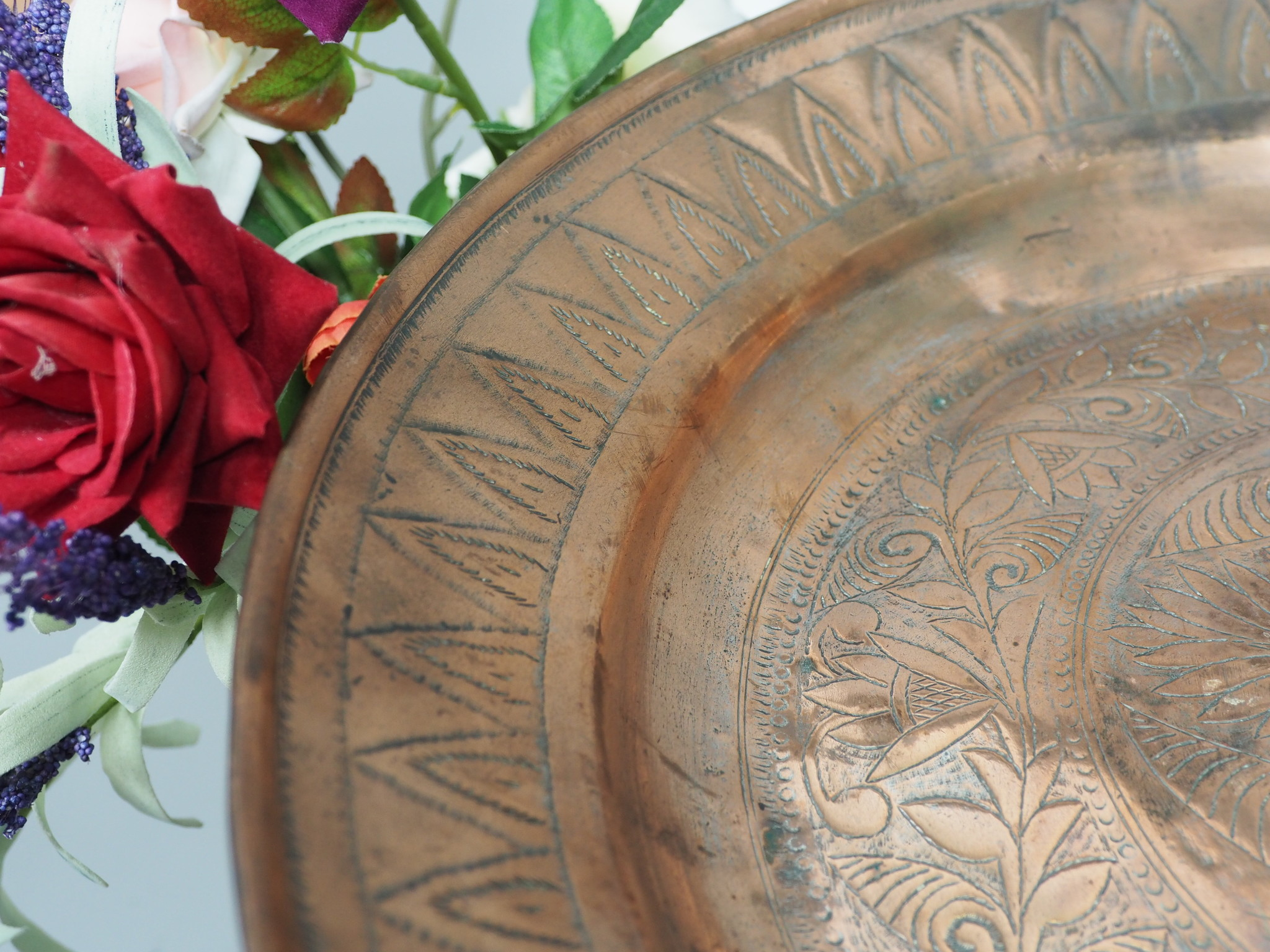 38 cm Antique ottoman orient Islamic Hammer Engraved  copper Tray Plate from Afghanistan K18