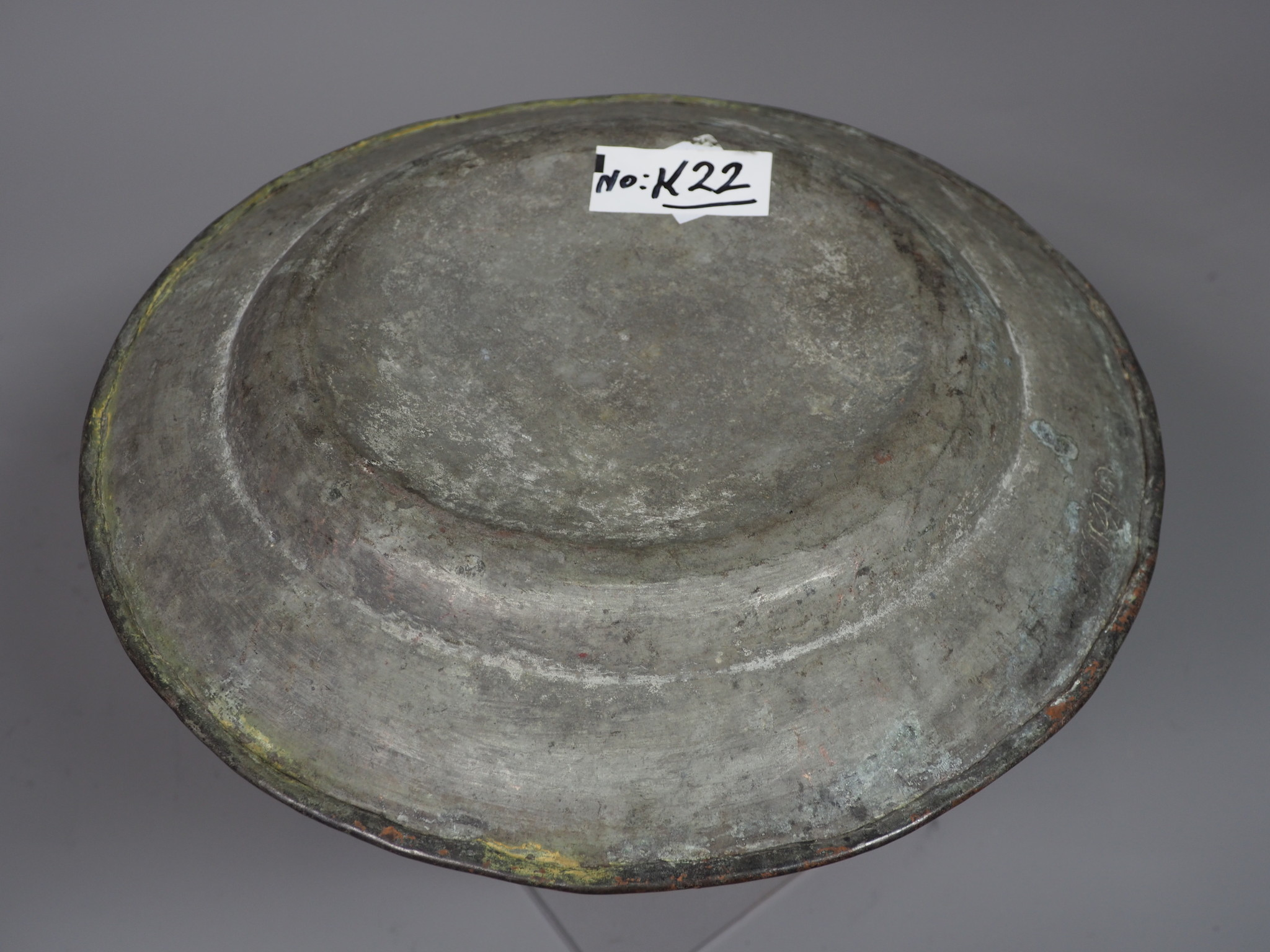 30 cm Antique ottoman orient Islamic Hammer Engraved  copper Tray Plate from Afghanistan K22