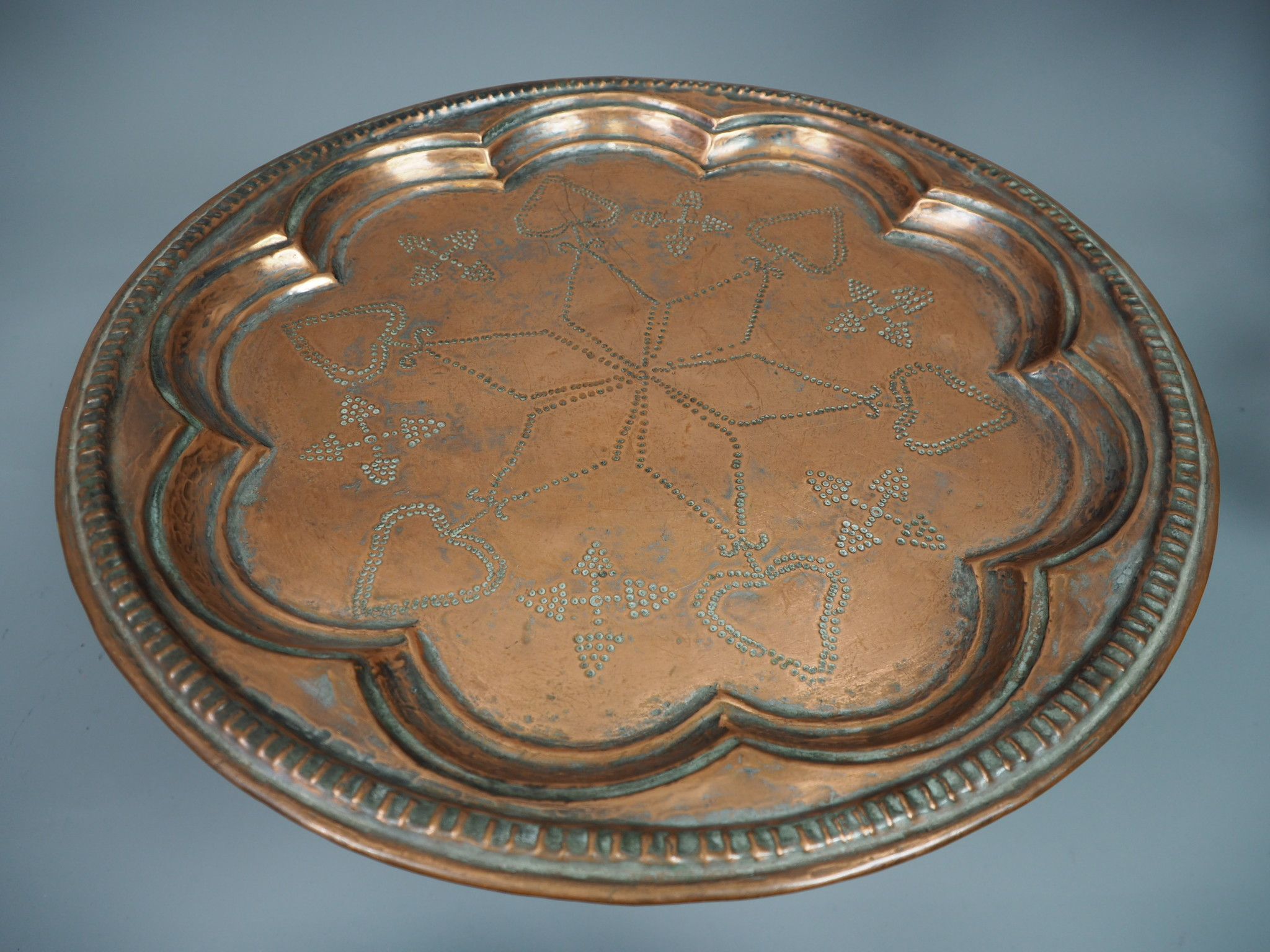43 cm Antique ottoman orient Islamic Hammer Engraved copper Tray Plate from Afghanistan K2